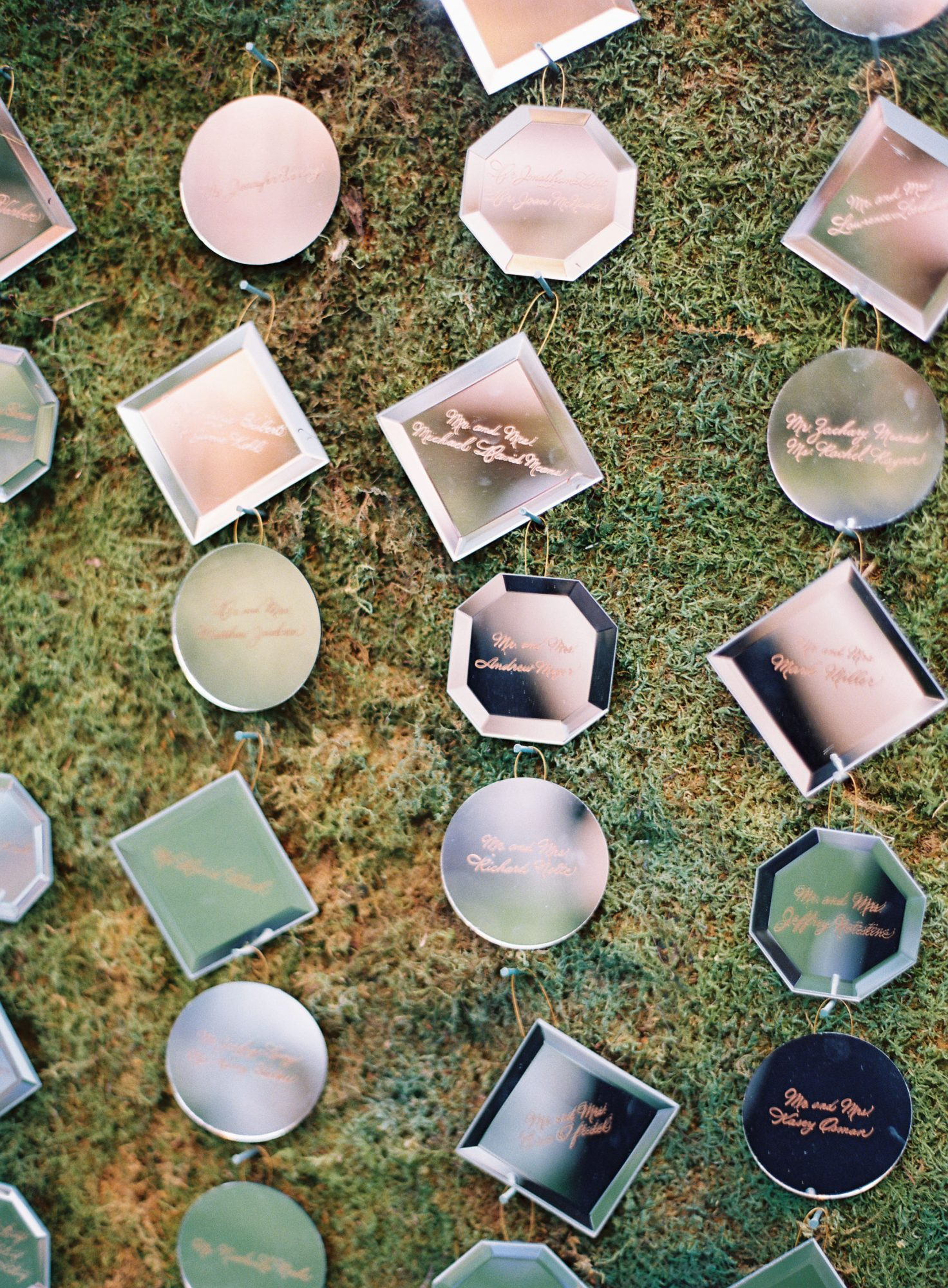 mix of shaped mirrors ornament escort cards