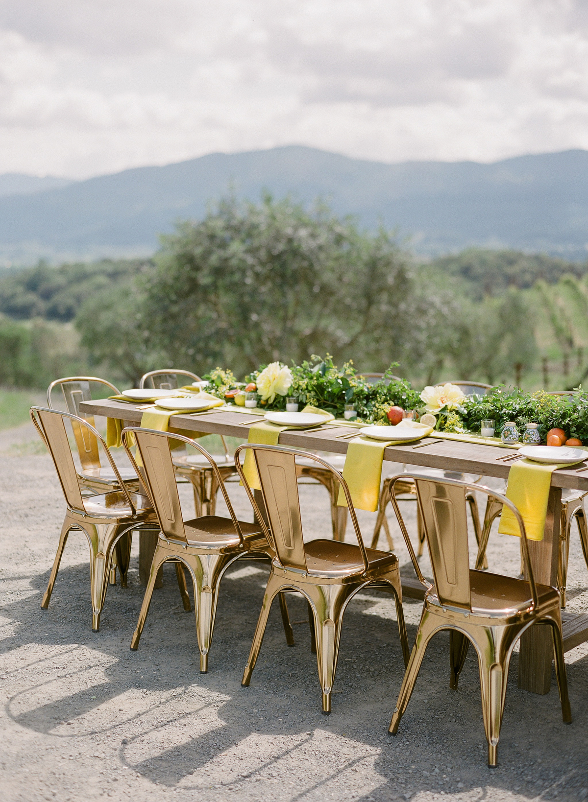 nadine dan rehearsal dinner table overlooking mountains