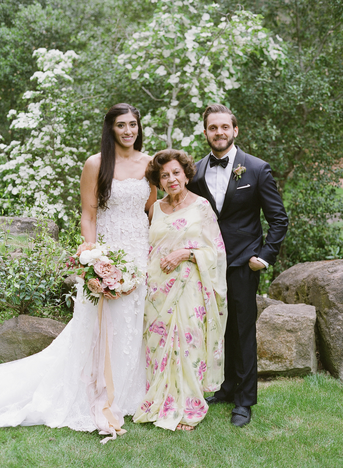 nadine dan wedding couple with family