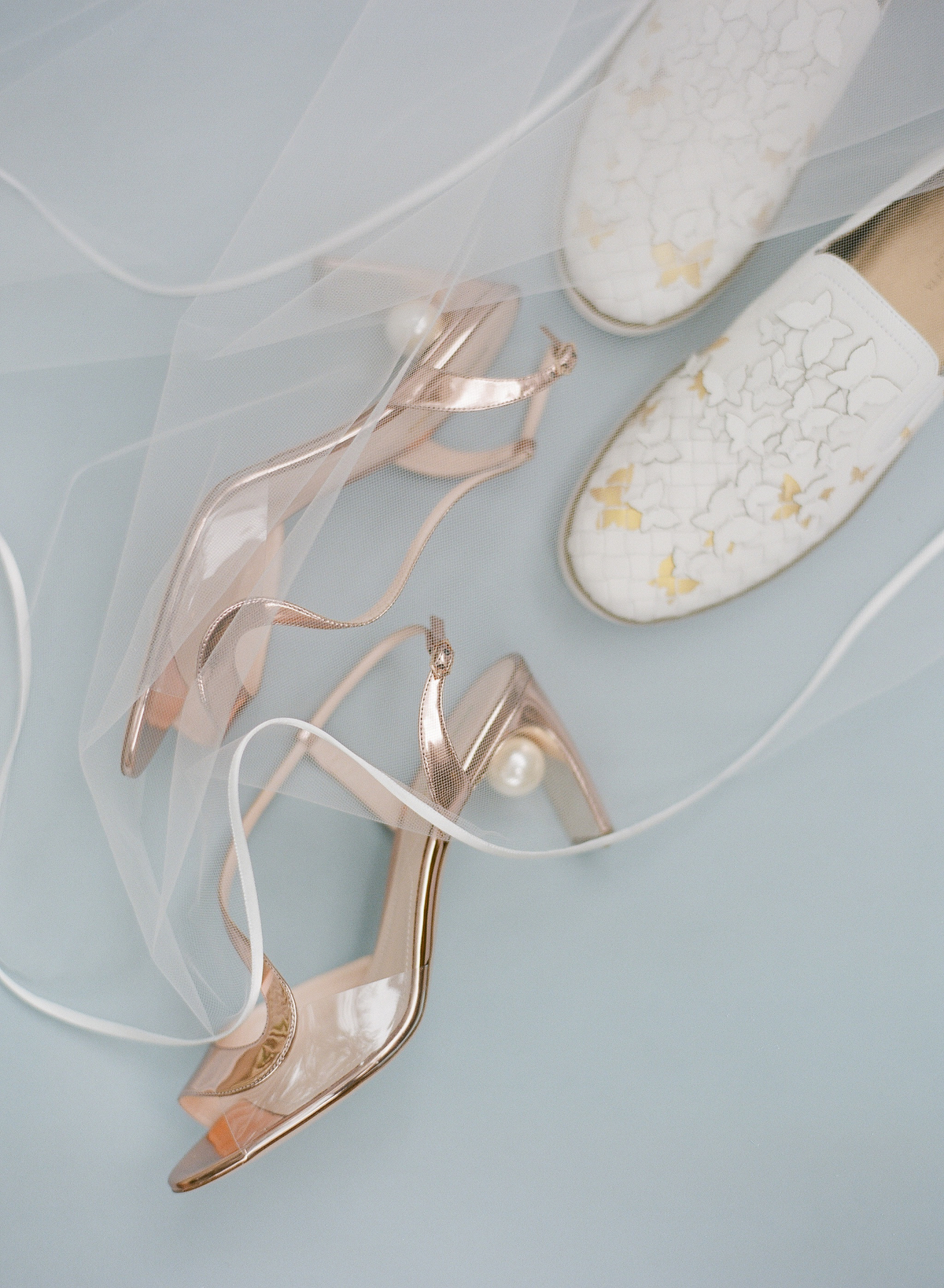 nadine dan wedding brides rose gold and white shoes