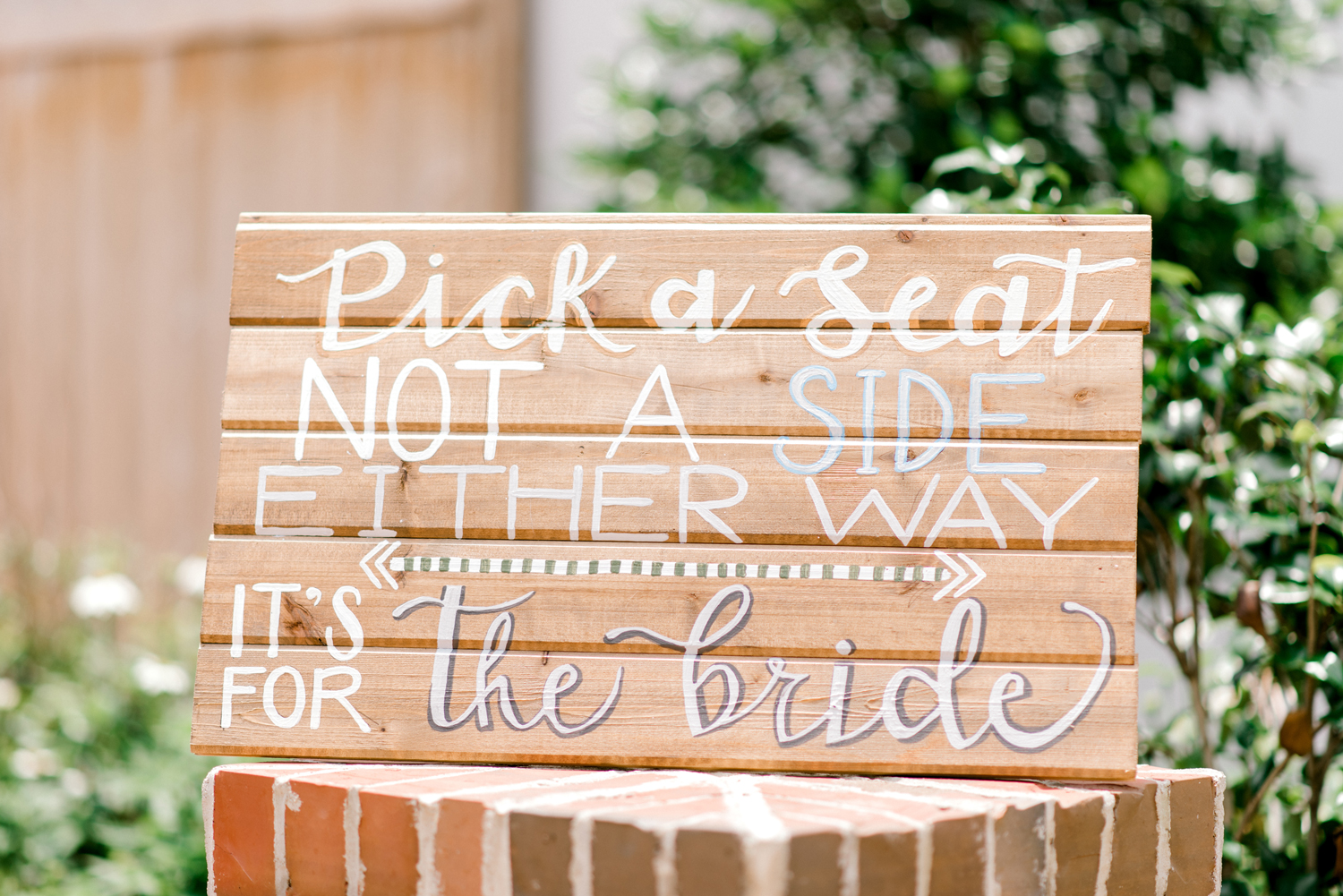 paige and kristine wedding bride side sign