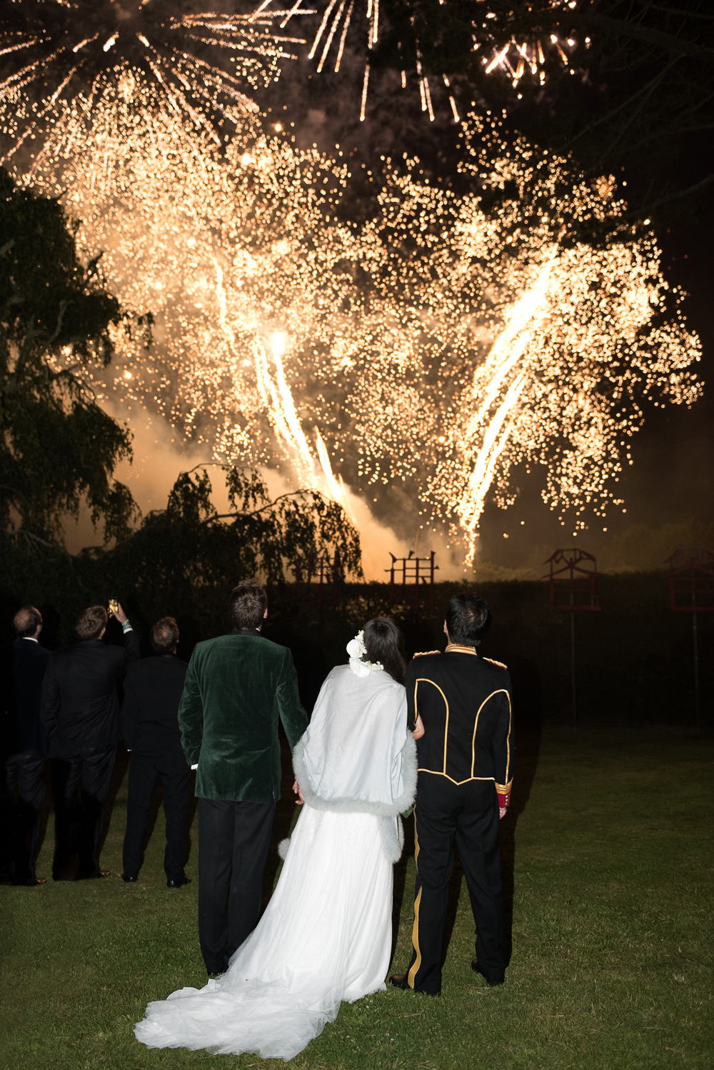 peony matthew england wedding guests viewing fireworks