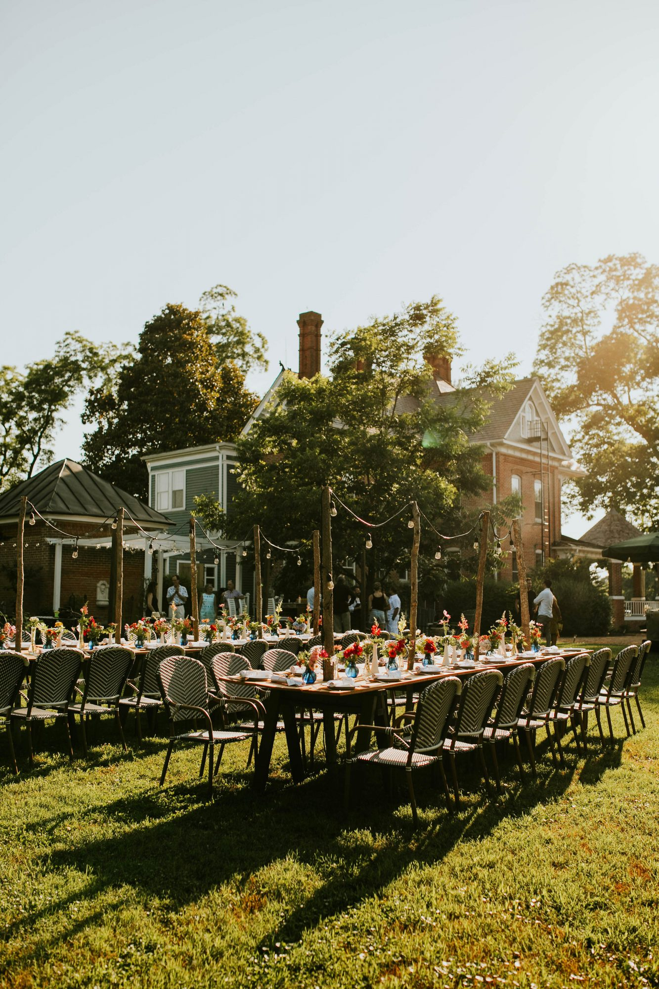 leah michael wedding welcome dinner tables outdoors