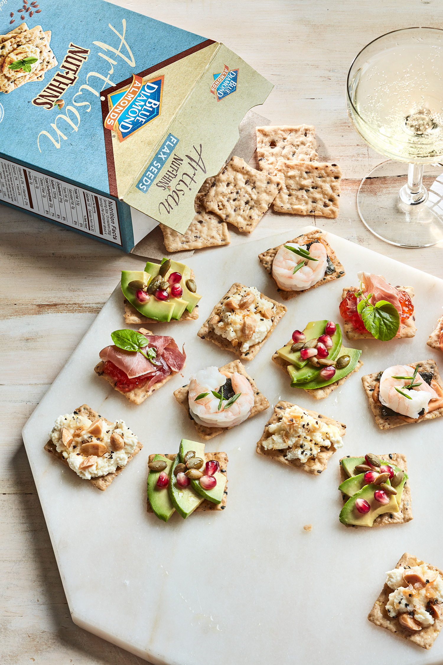 crackers with all toppings and blue diamond box