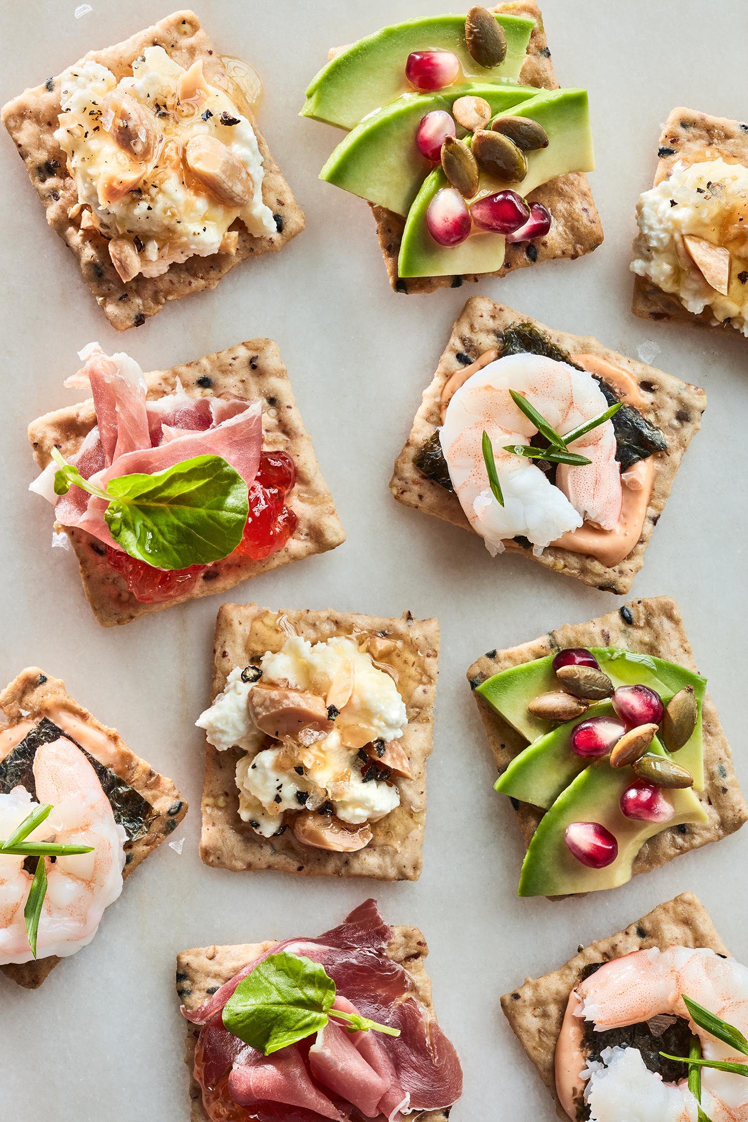 crackers with all toppings