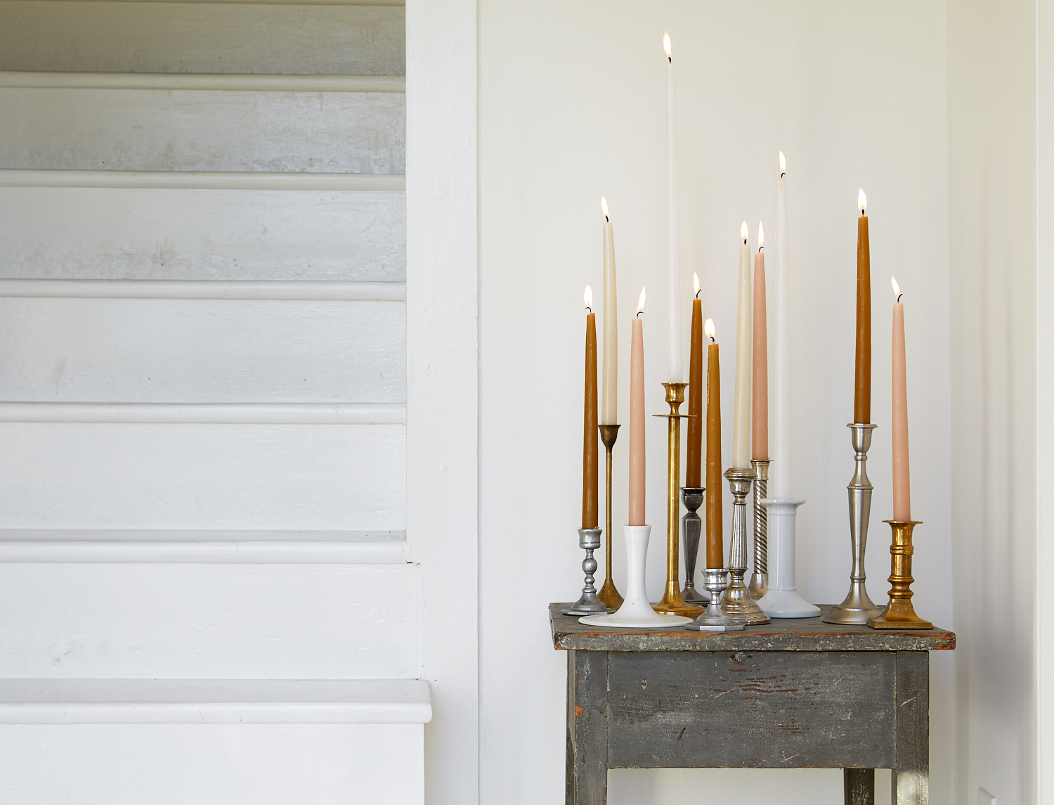 mismatched taper candles