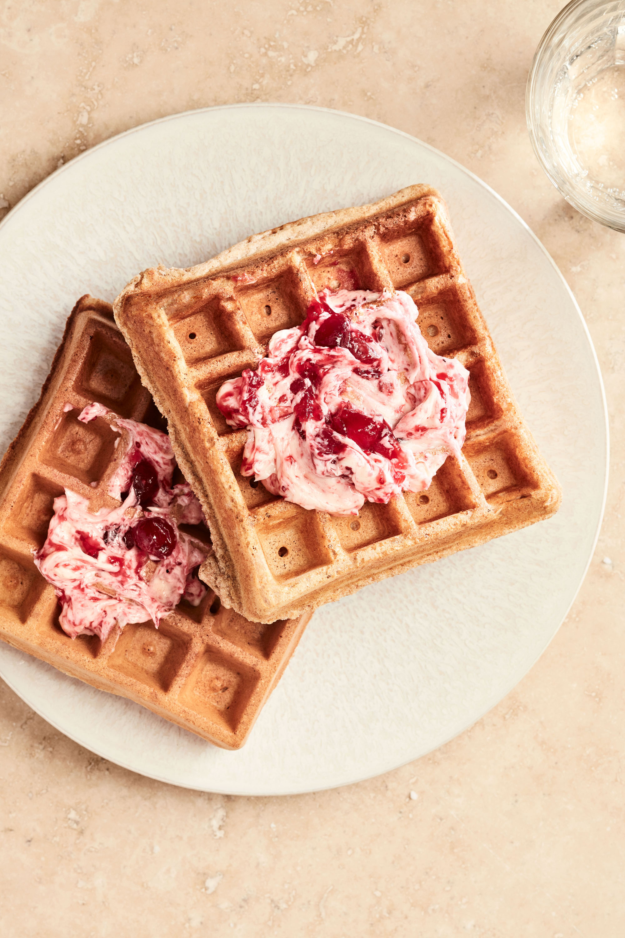 waffles with cranberry sauce spread