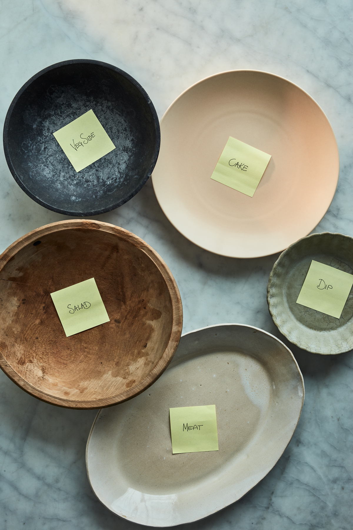 fall potluck platters with post its for food assignments