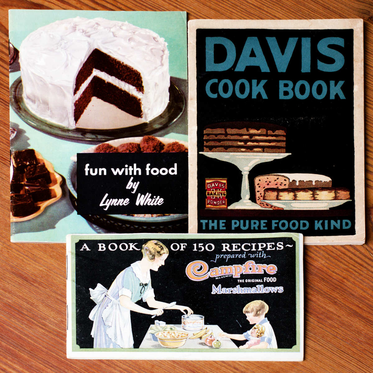 vintage dessert pamphlets with cake illustrations