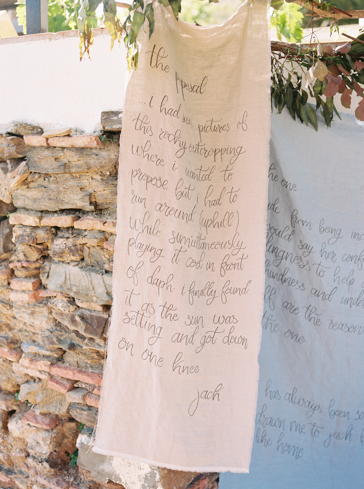 daphne jack wedding spain banners hanging from trees
