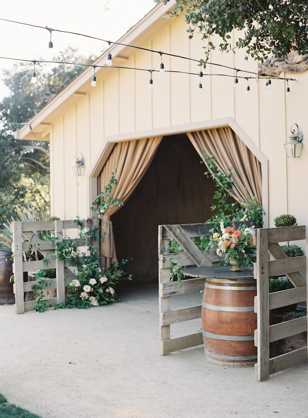 laurie michael wedding barn with string lights