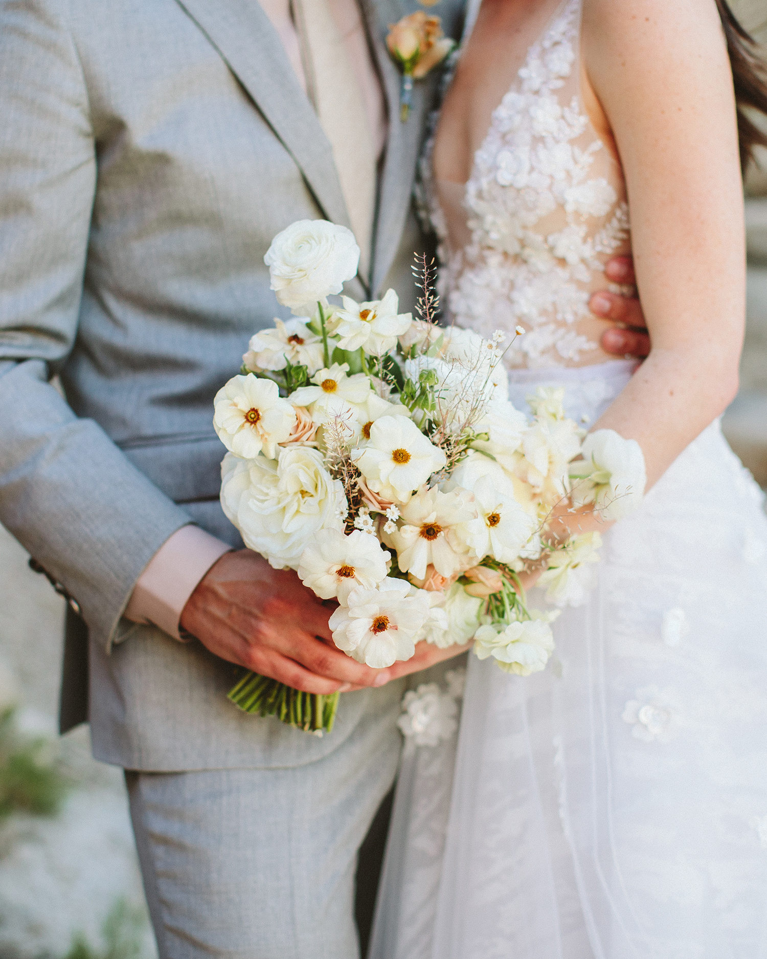 ashley basil wedding bouquet couple