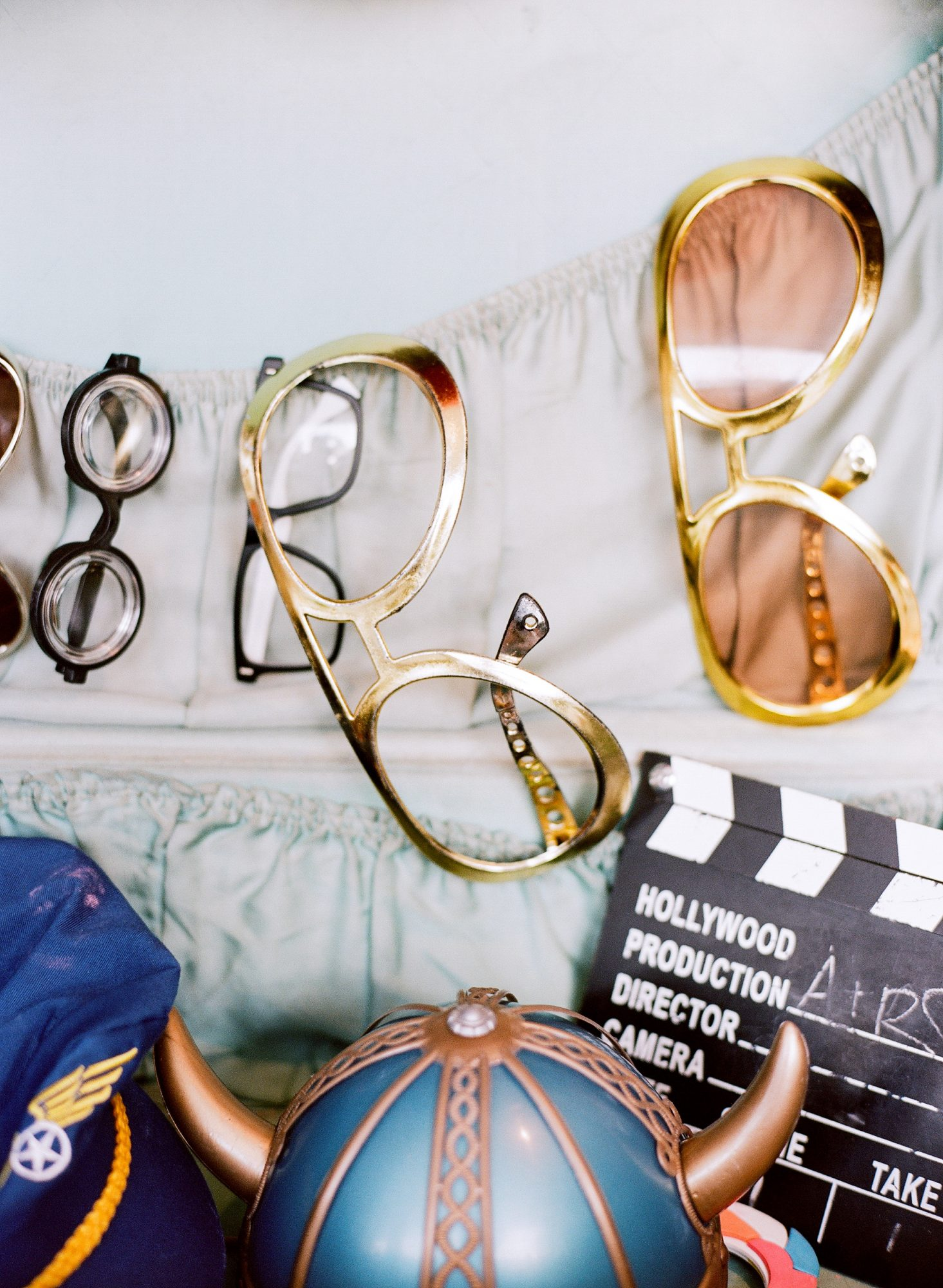 photo booth props nostalgic items gold glasses