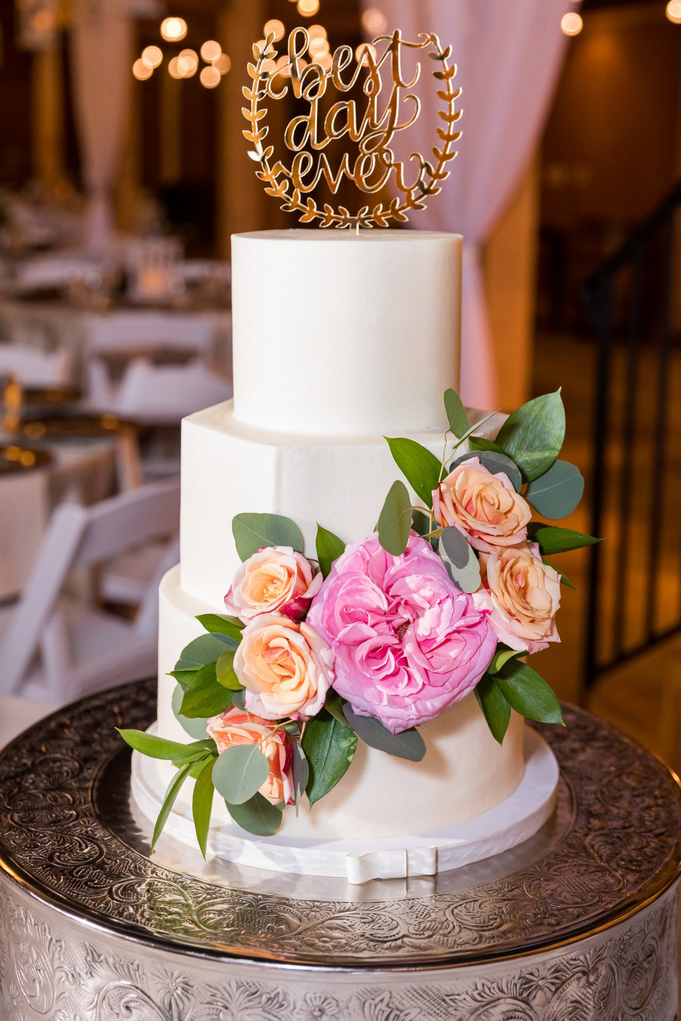 cara chamique wedding cake with flowers