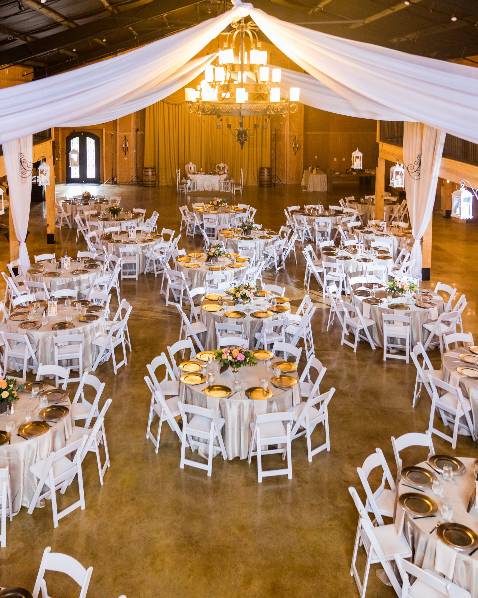 cara chamique wedding reception from above with set tables