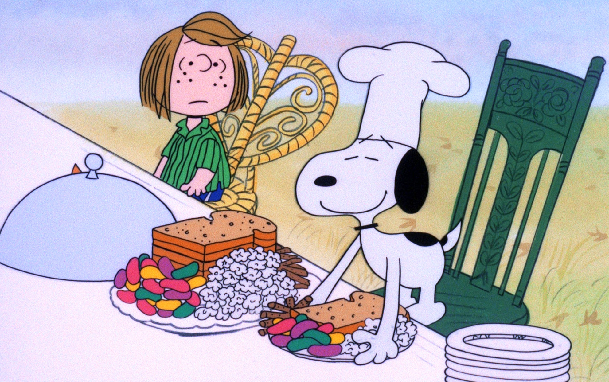 still of the Thanksgiving table from A Charlie Brown Thanksgiving