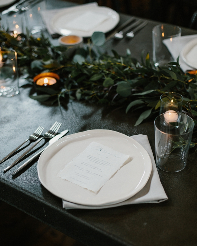 moody wedding place setting