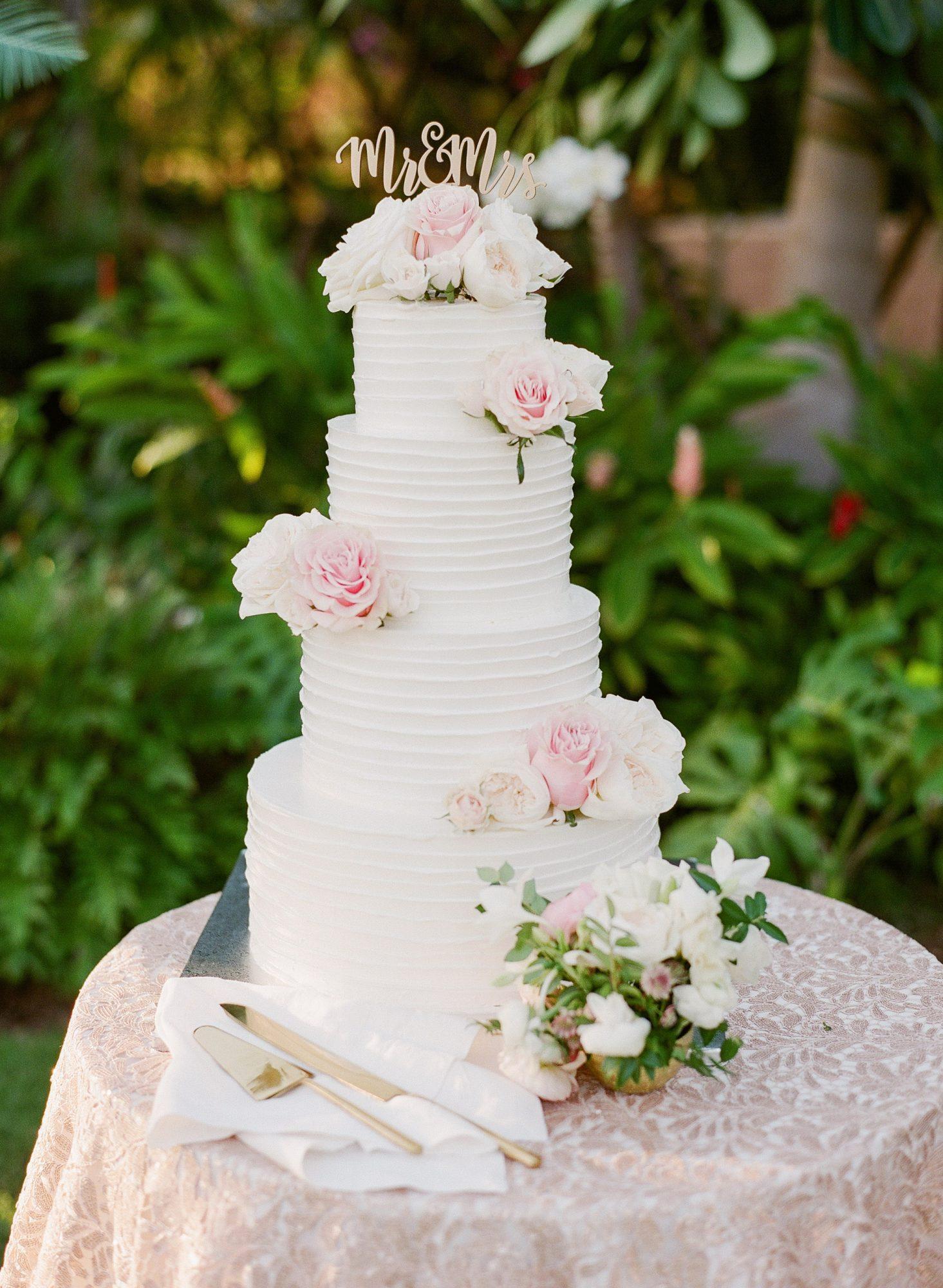 wedding cake pink flower topping four tier