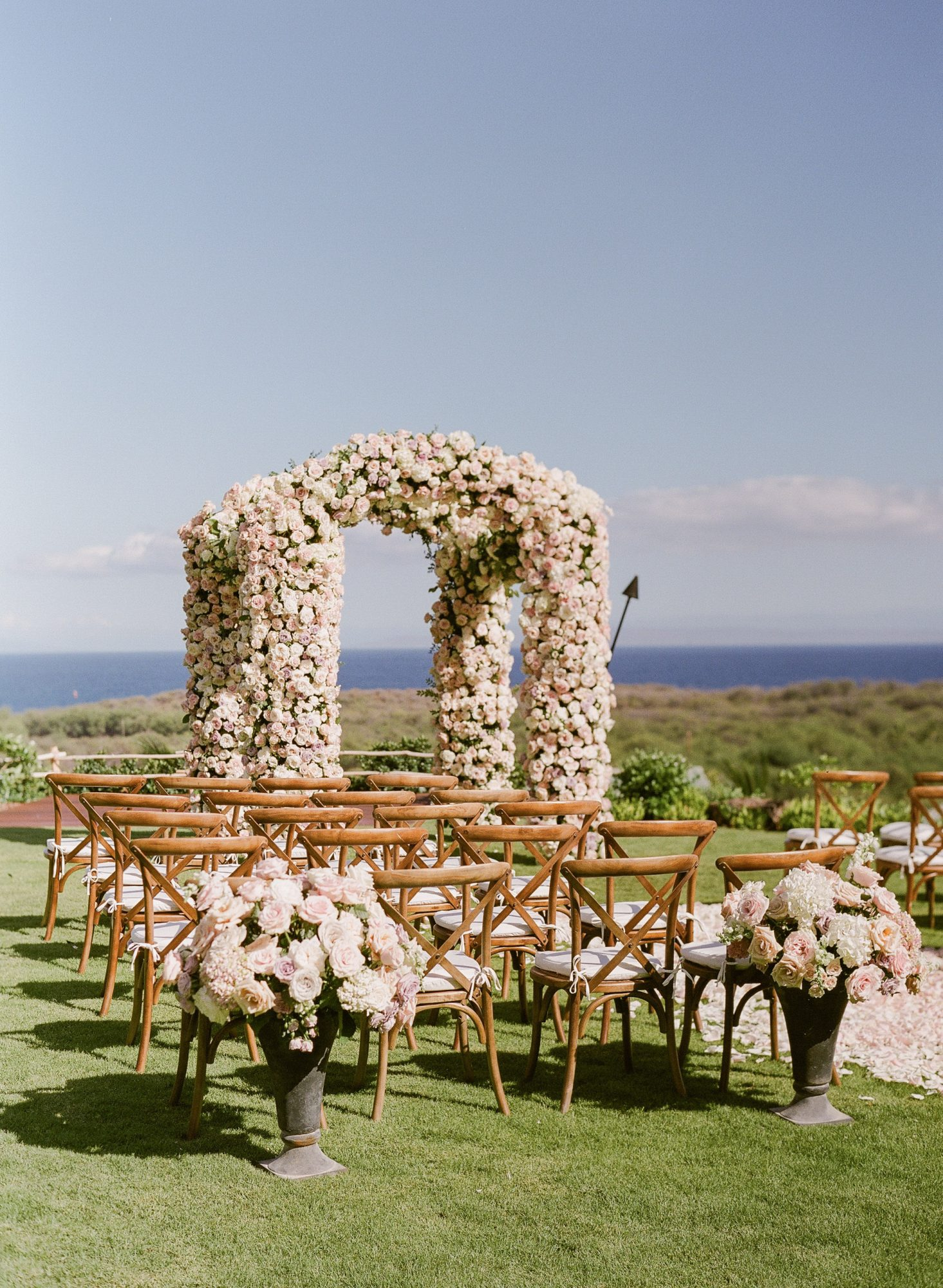 outdoor wedding floral archway light pink white roses