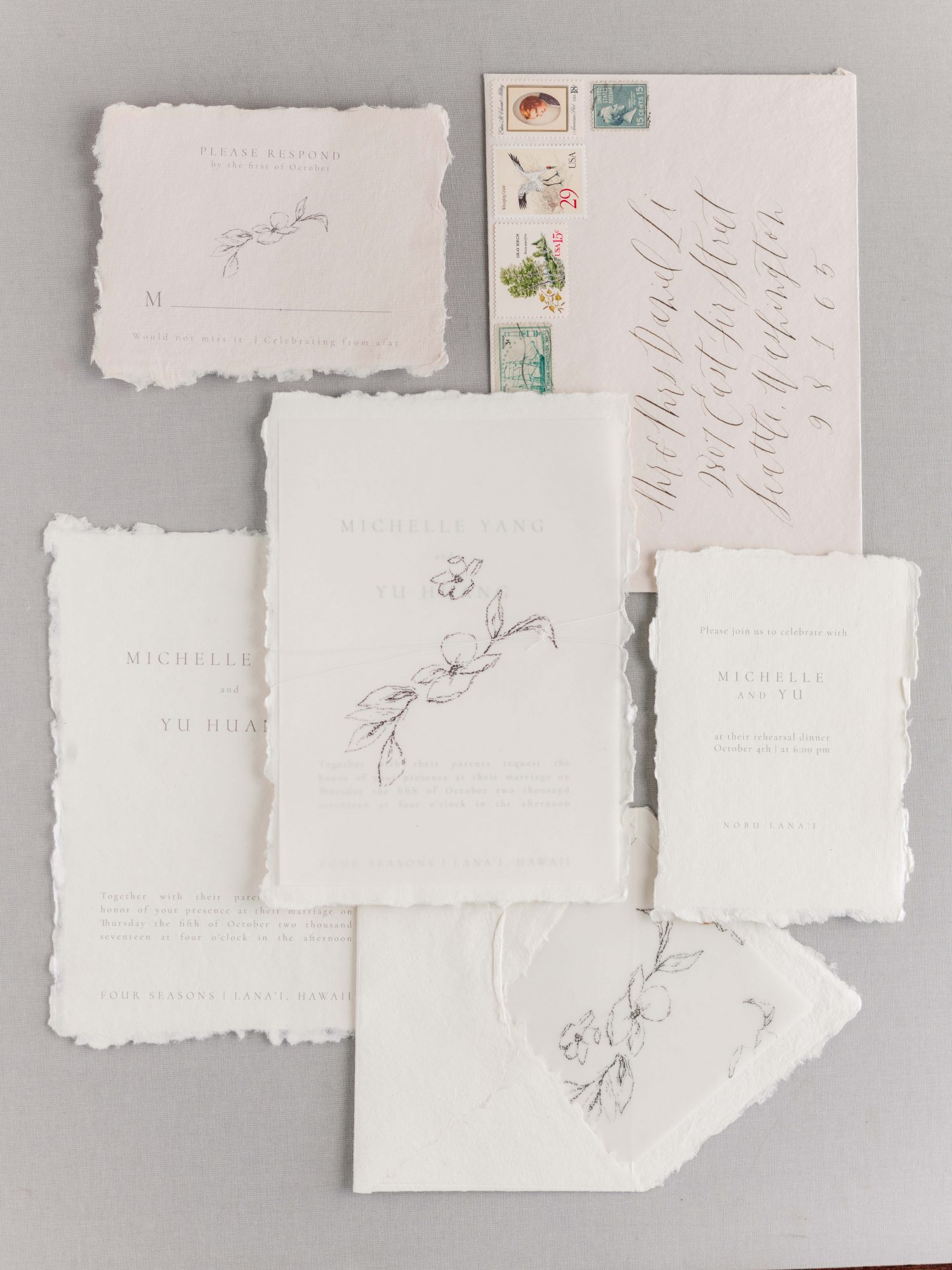wedding invitation set delicate stationery white pink