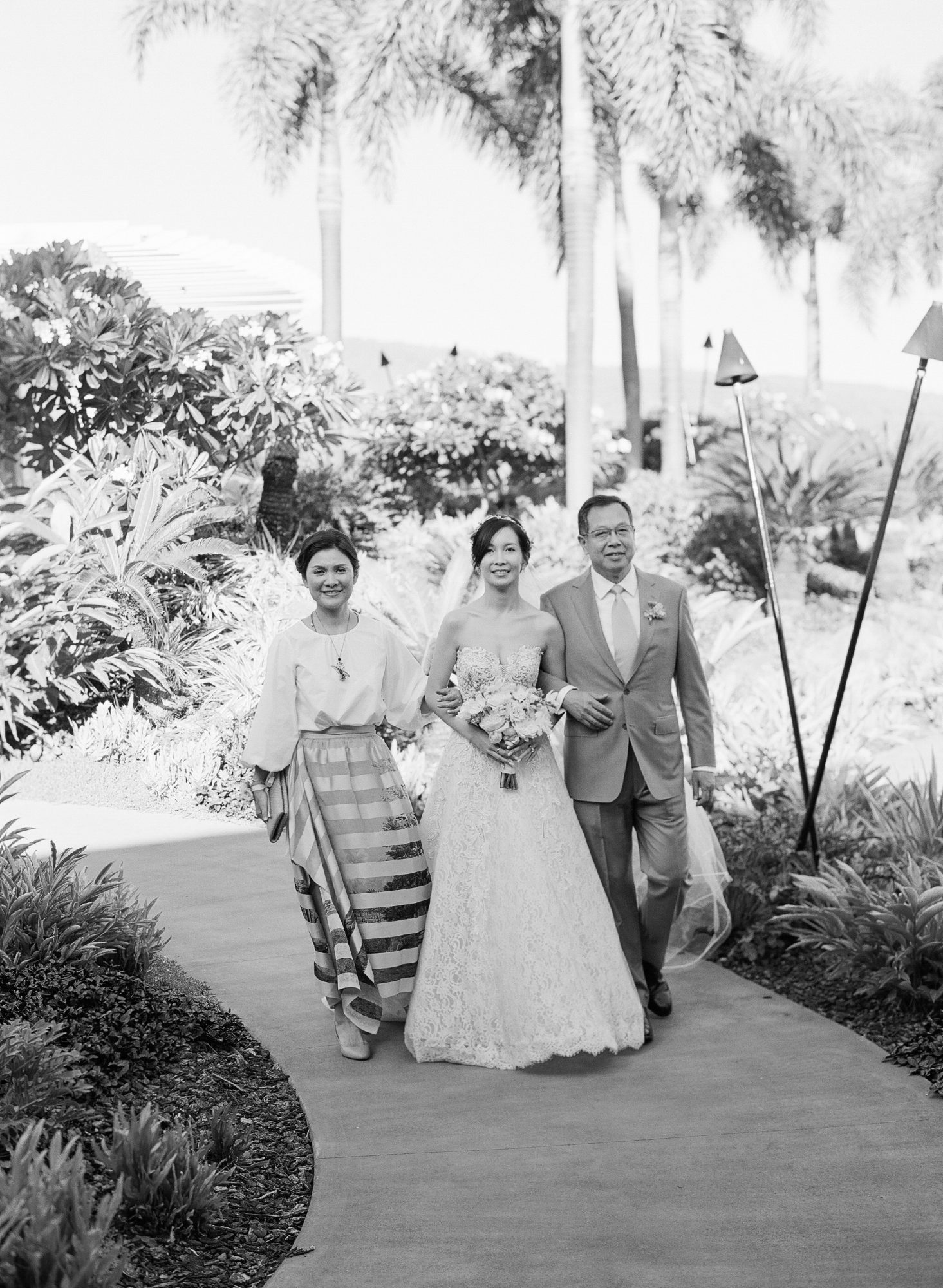hawaiian wedding bride parents aisle walk