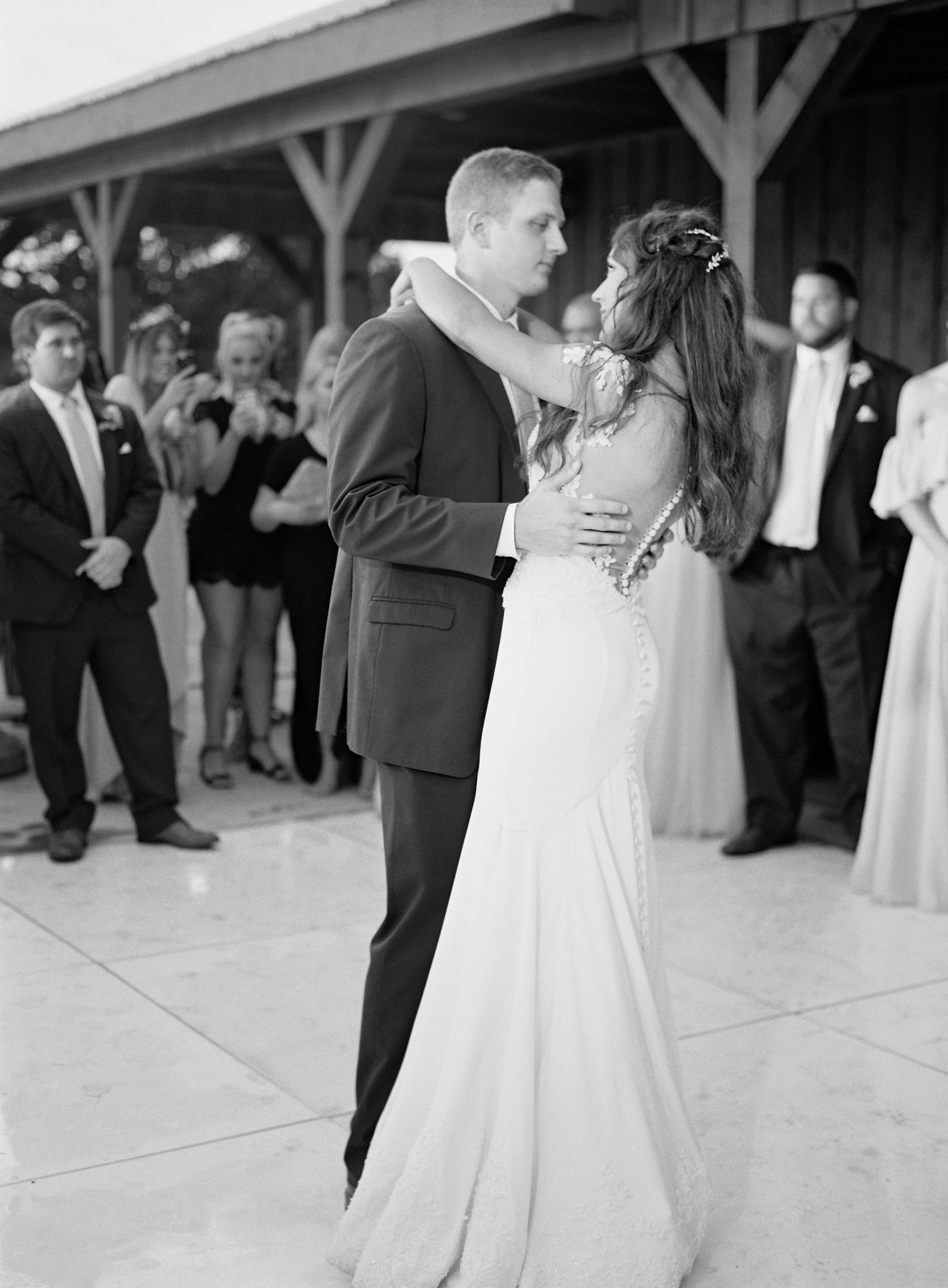 wedding couple first dance black and white photo