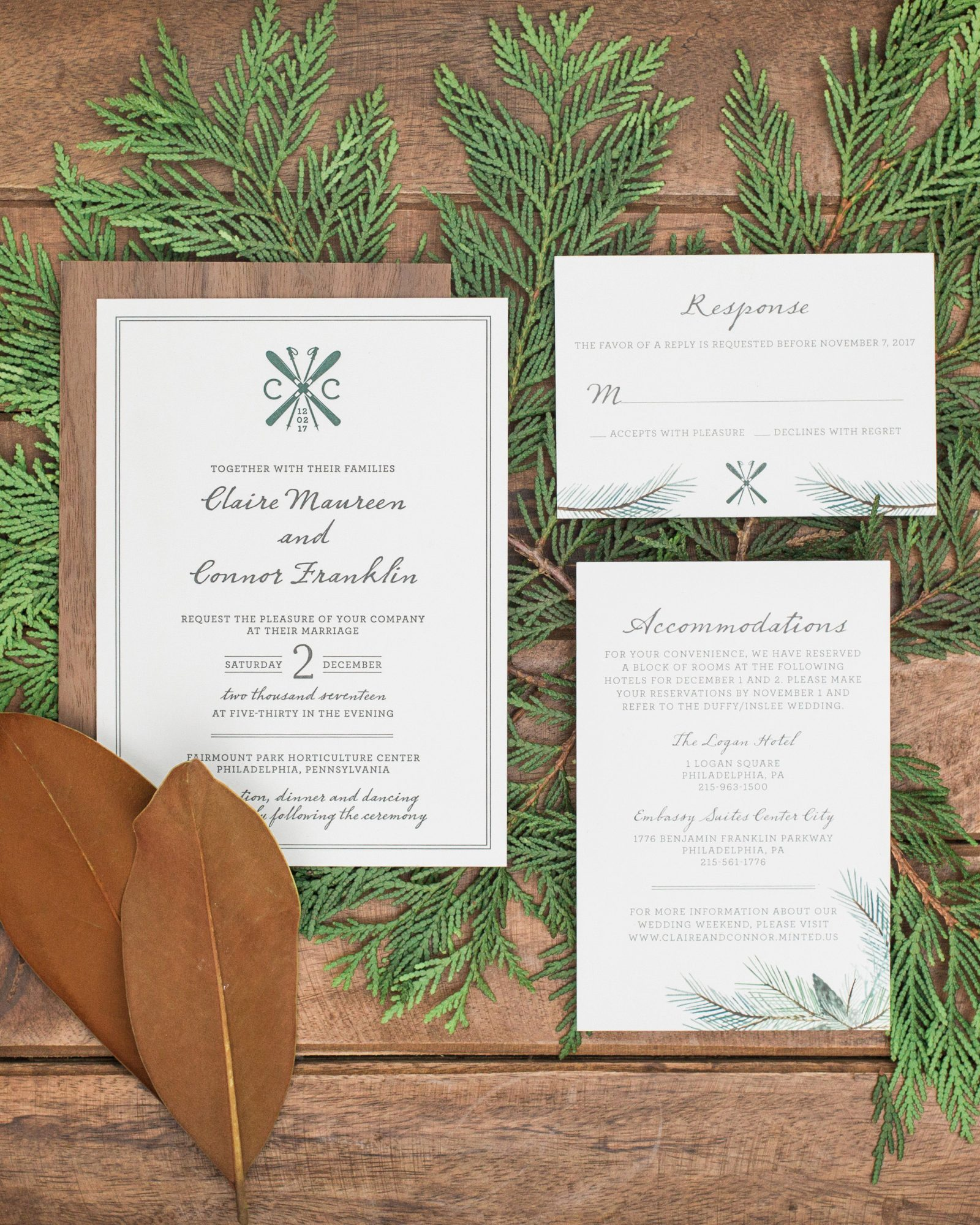 ski lodge theme invitation spread over pine leaves