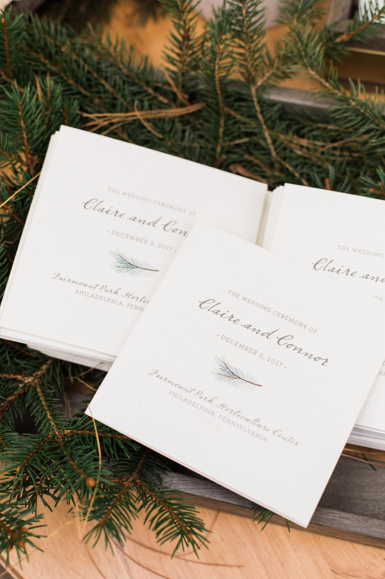 square booklet wedding programs evergreen theme