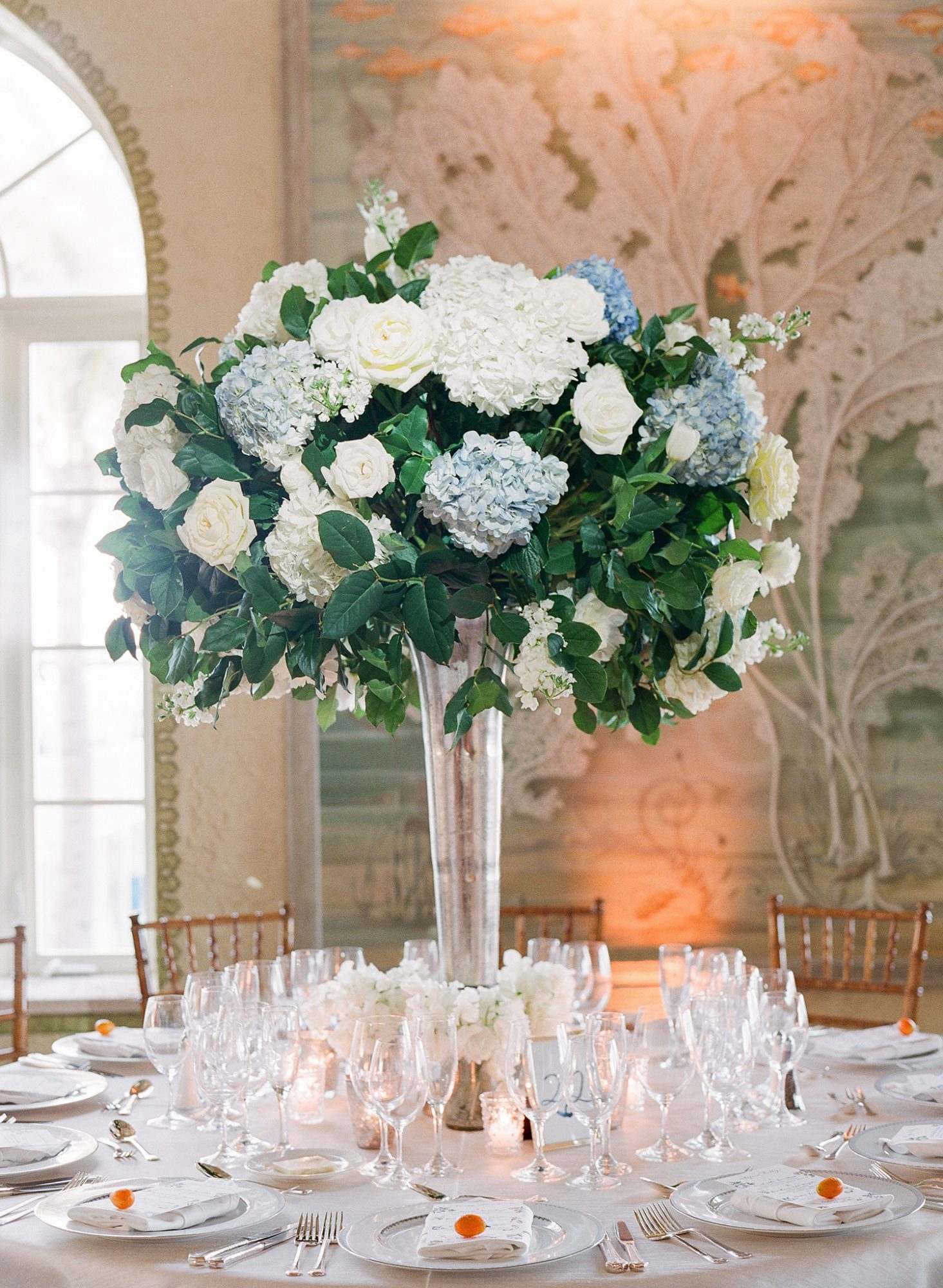 chelsea conor wedding tall floral centerpiece