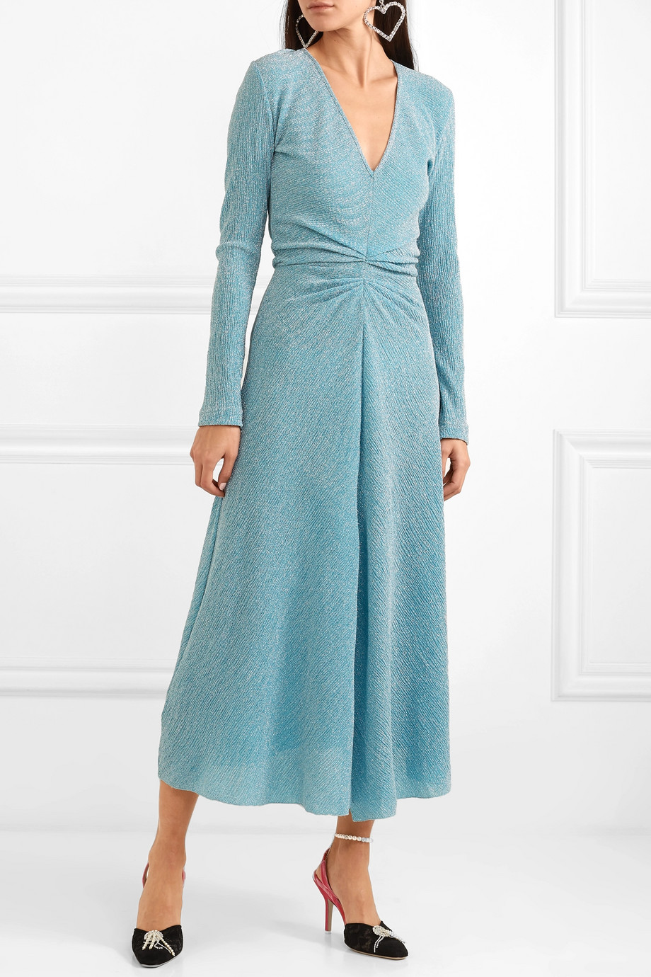 blue rotate dress with v neckline and long sleeves