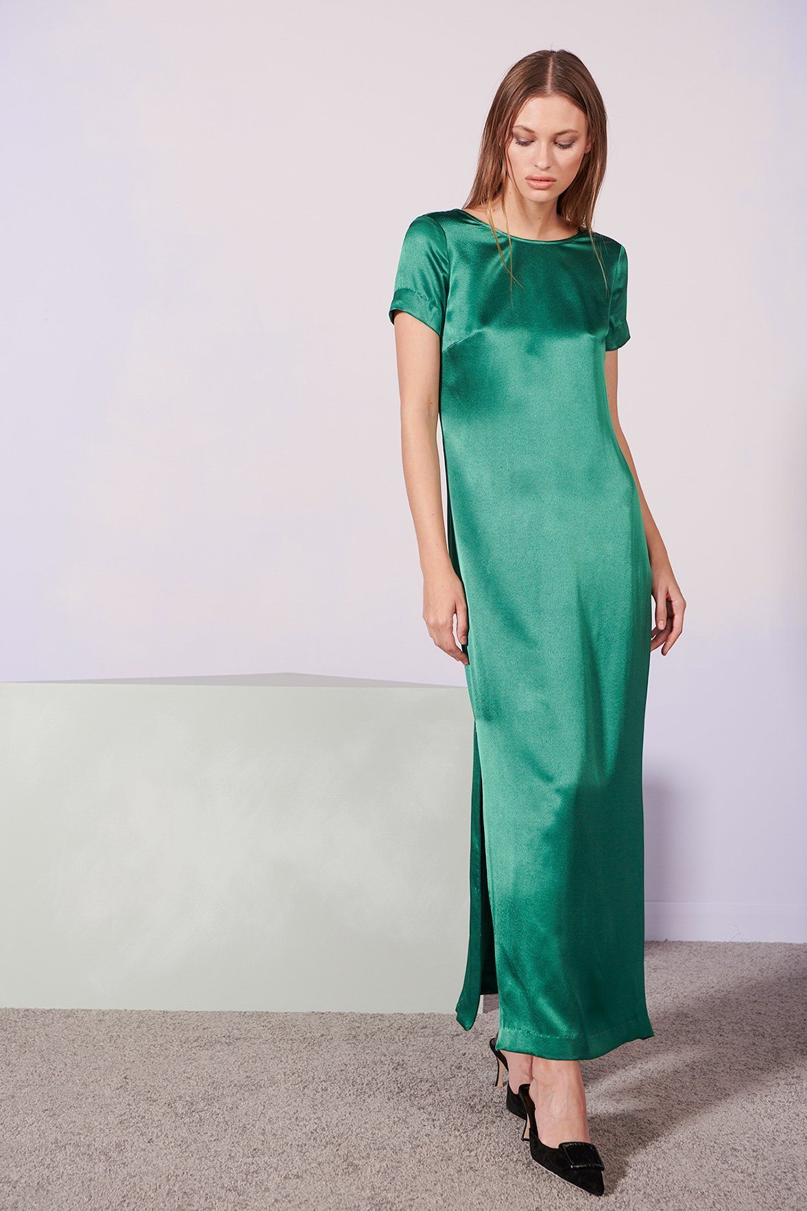 long green staud dress with short sleeves