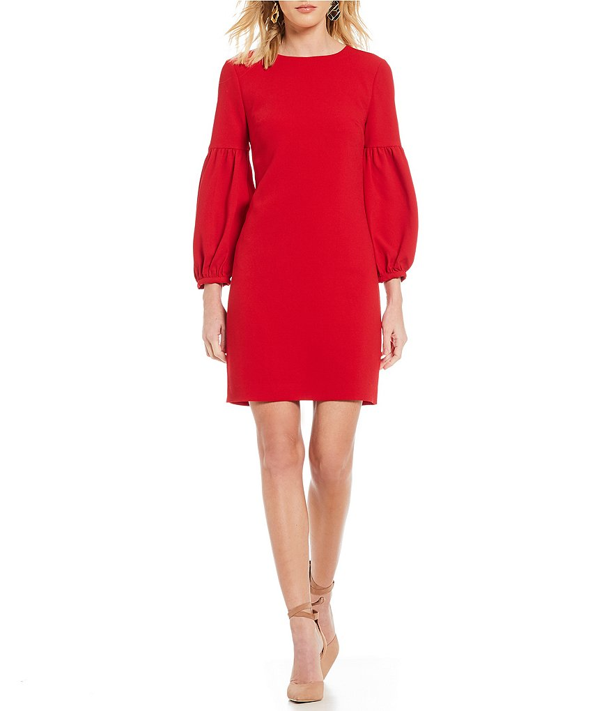 short red trina turk dress with long sleeves and off the shoulder neckline