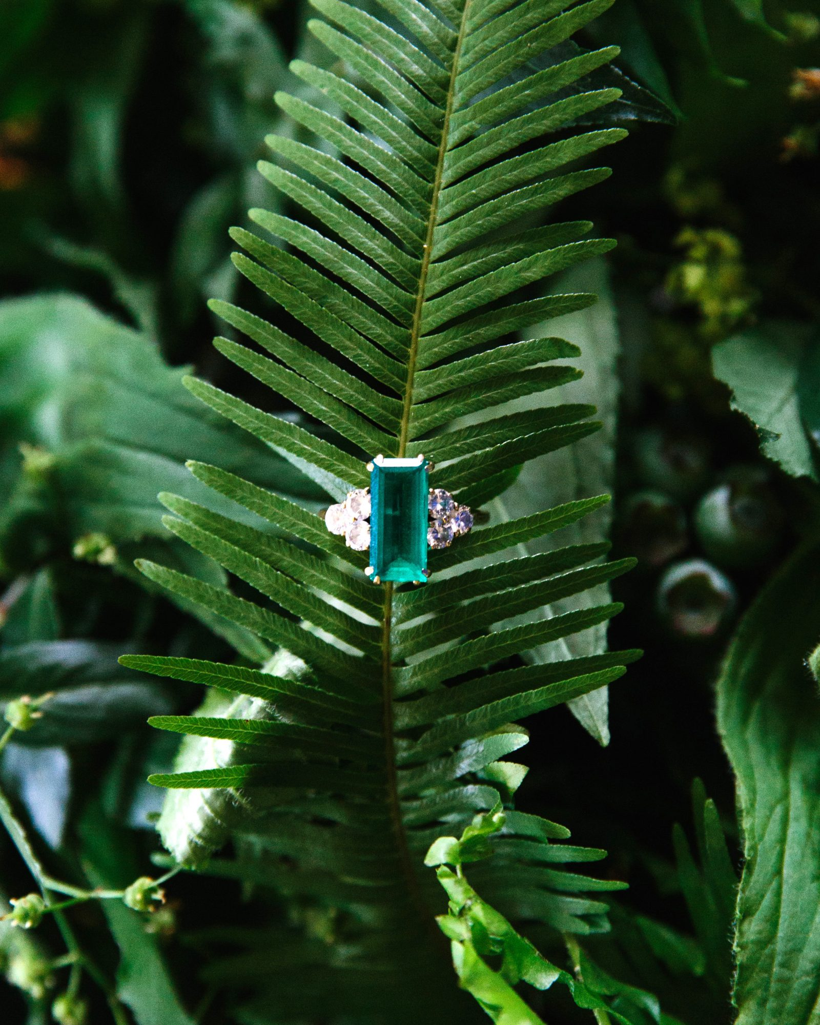 molly ed wedding emerald ring leaves