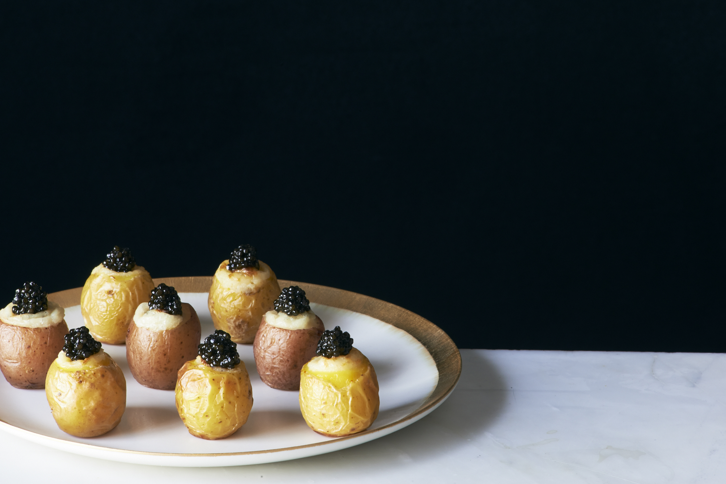 twice cooked potatoes with caviar