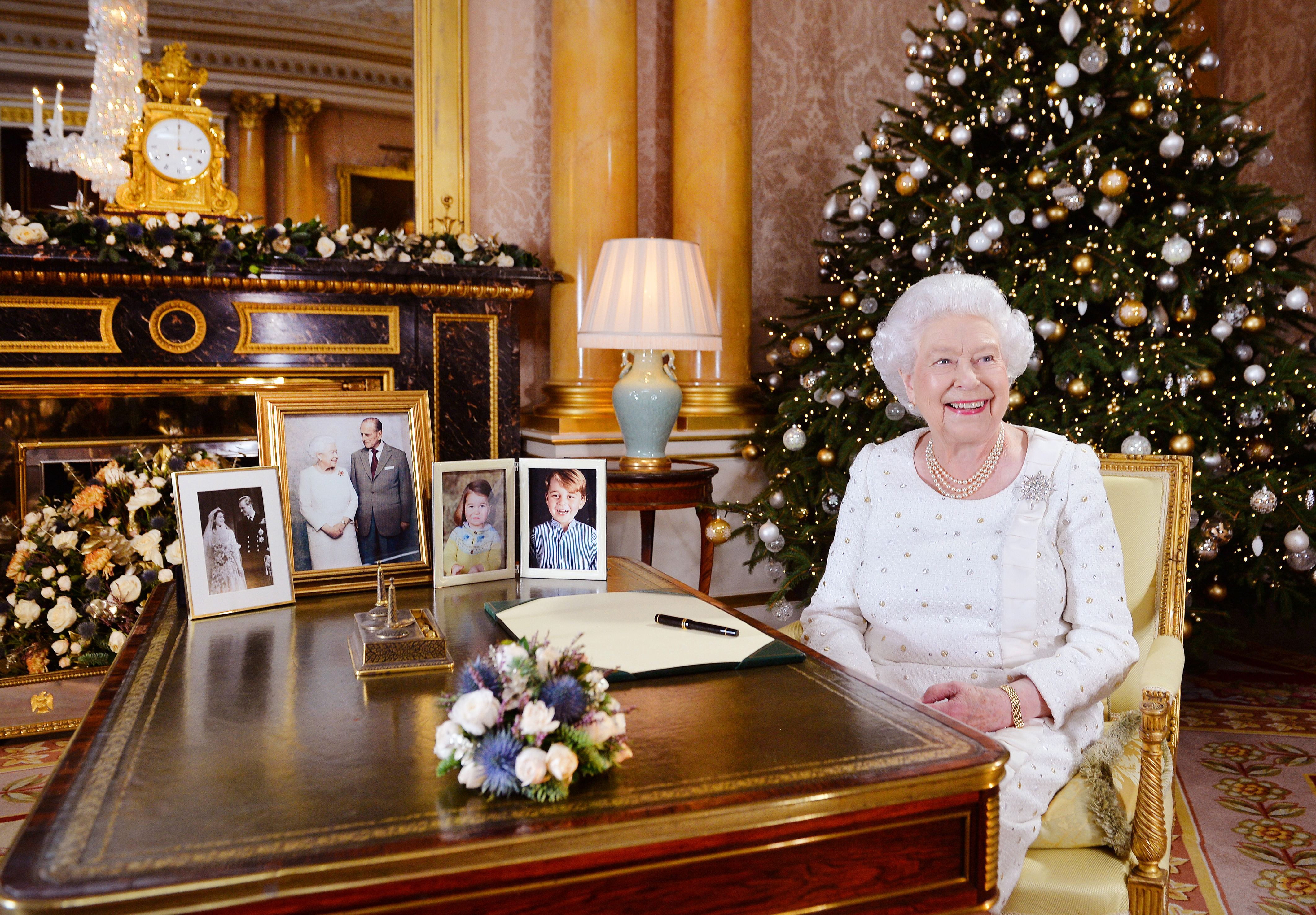 Queen Elizabeth at Buckingham Palace during Christmas