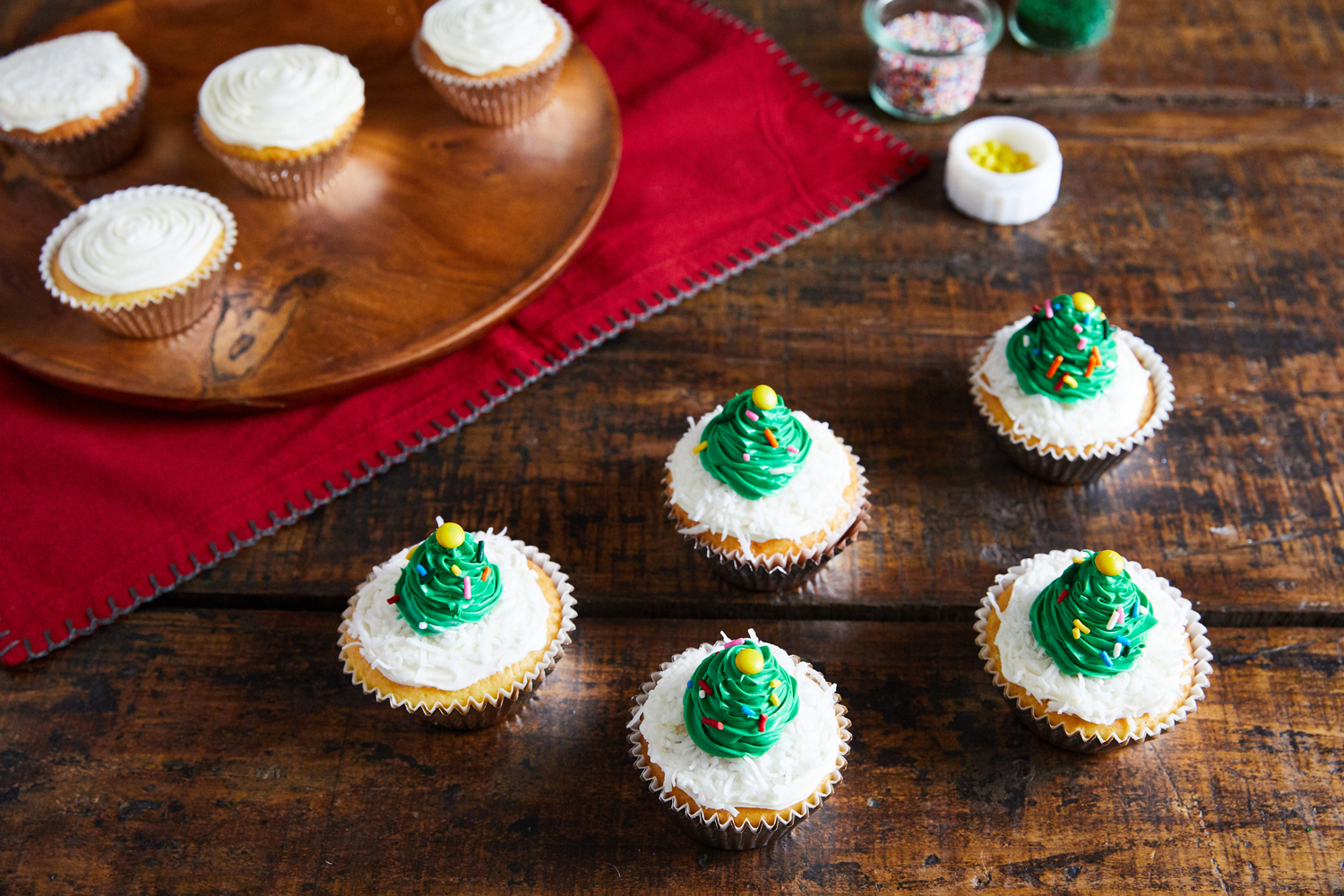 vanilla cupcakes with green piped trees