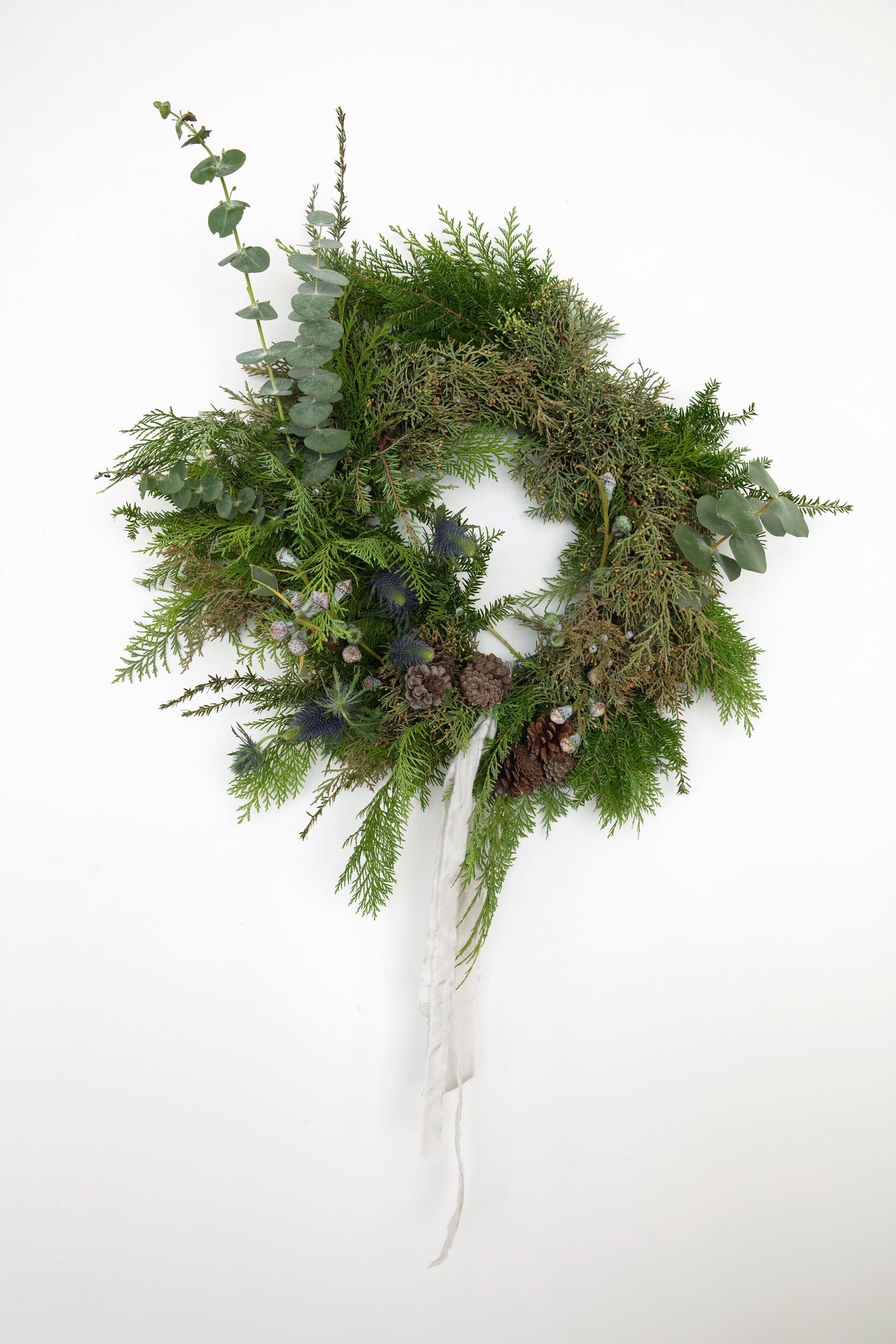 asymmetrical christmas wreath complete