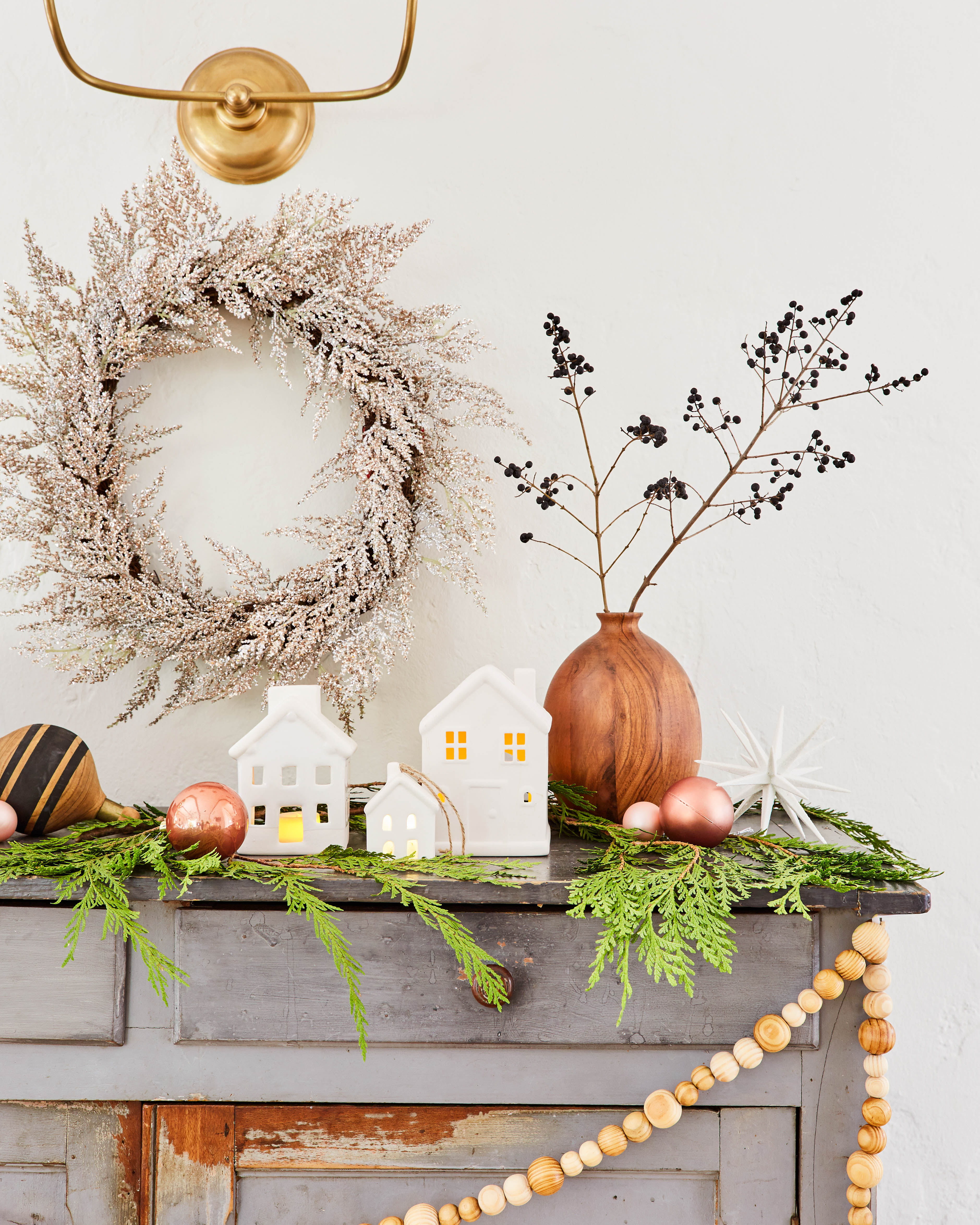 target holiday decor emily henderson wreath wood bead garland