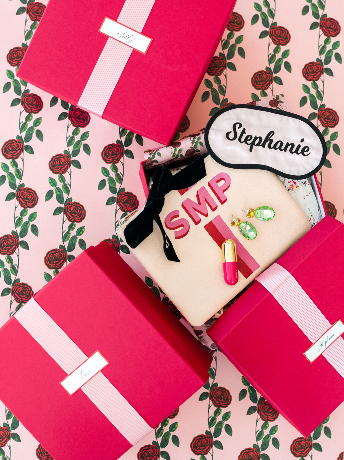 colleen stephen newport wedding bridesmaids gift in pink boxes with custom sleeping masks