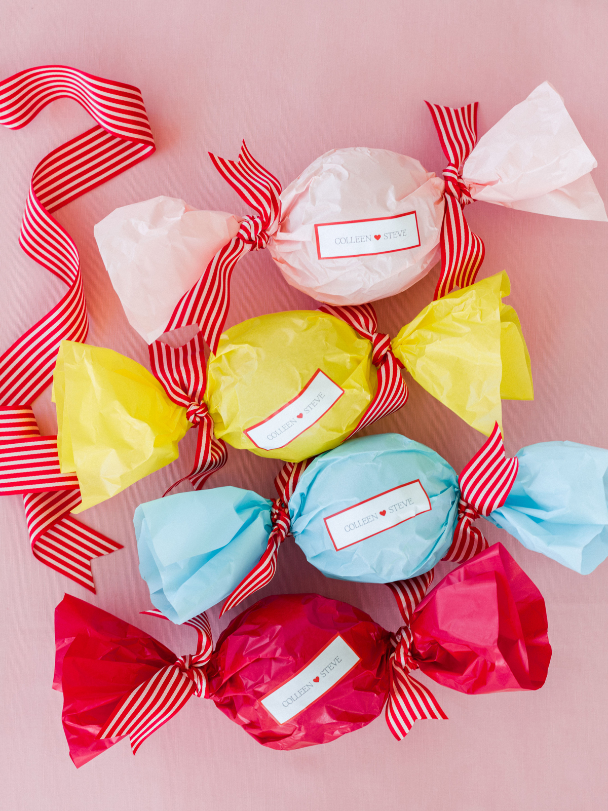 colleen stephen newport wedding colorful bon bon wedding favors