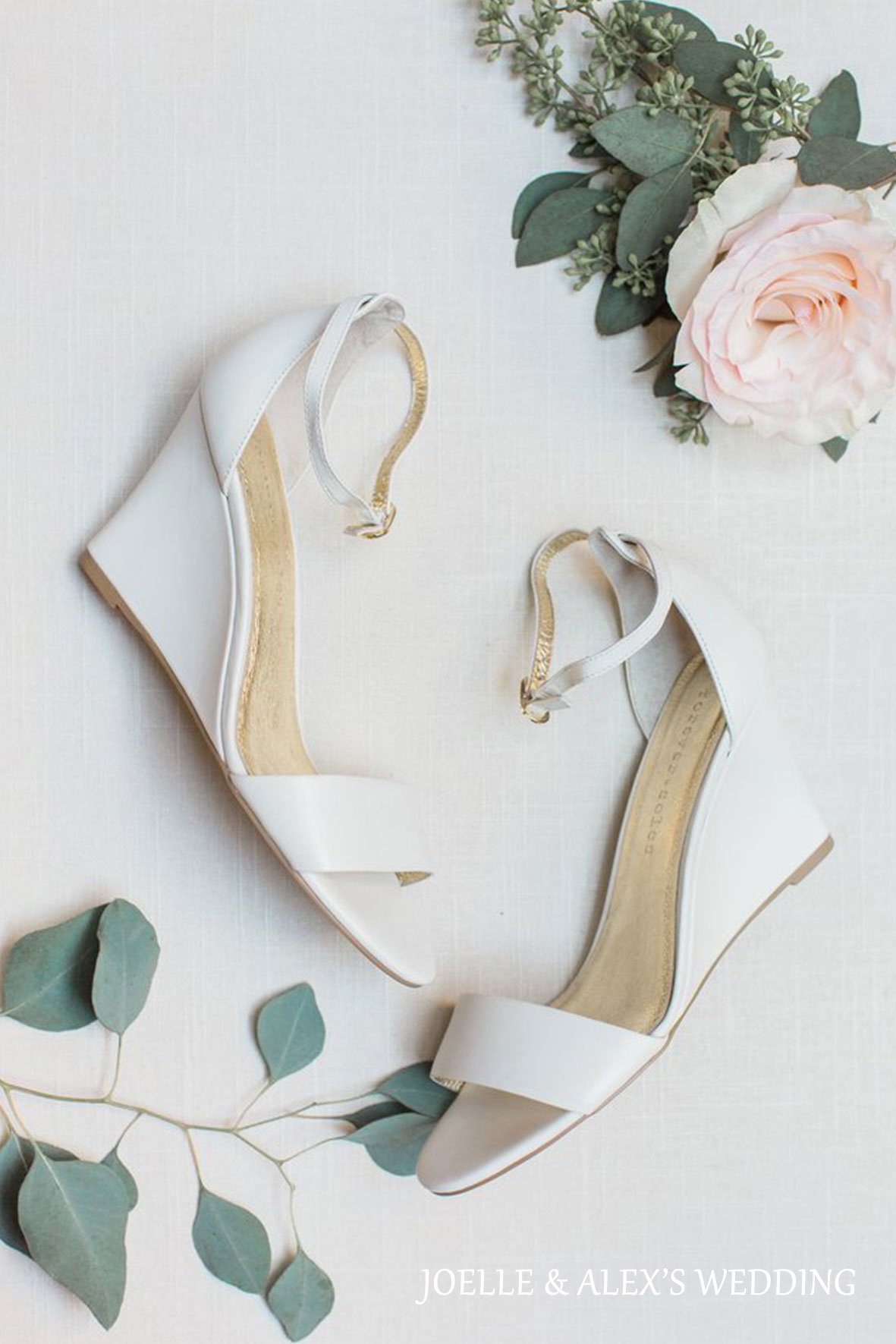 wedding wedges with white leather strap