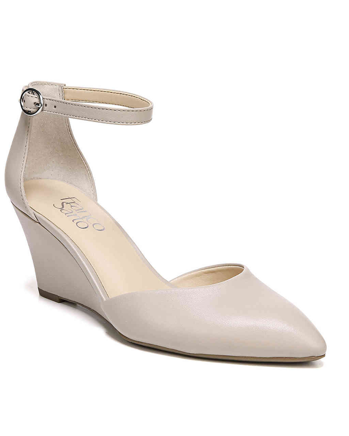 wedding wedges beige leather with pointed toe