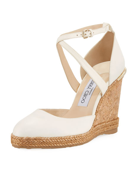 wedding wedges with criss-cross straps