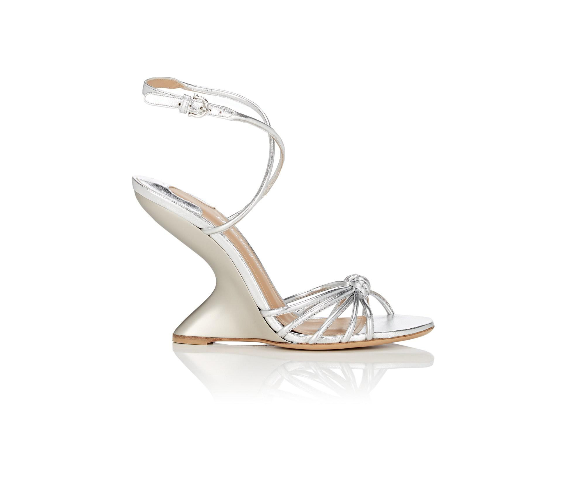 wedding wedges silver ankle-strap sandals