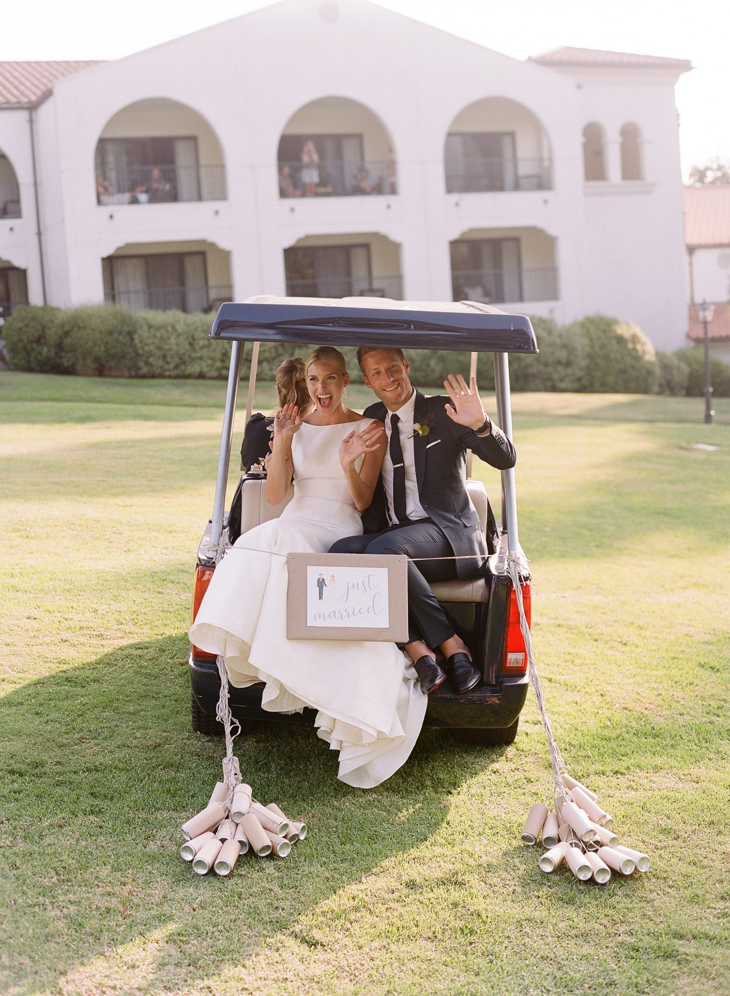 ashlie adam alpert wedding couple in golf cart