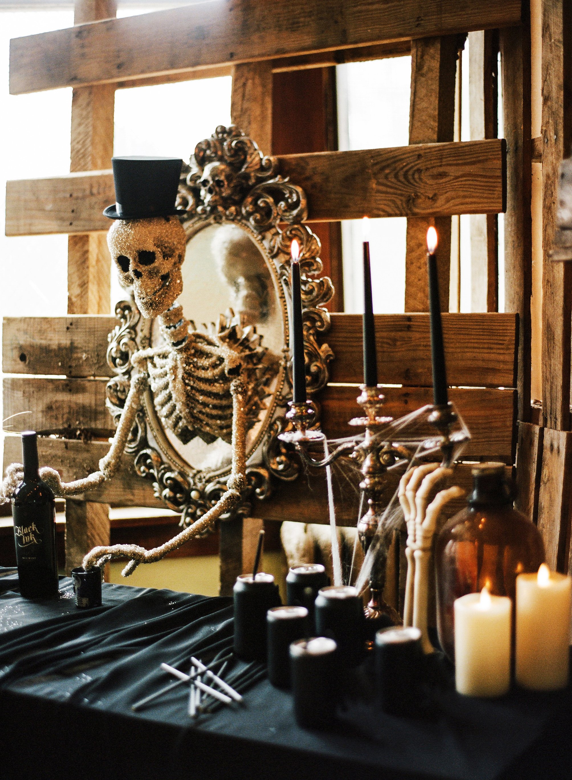 eli skeleton masquerade birthday party close up dead bartender drinks table decor