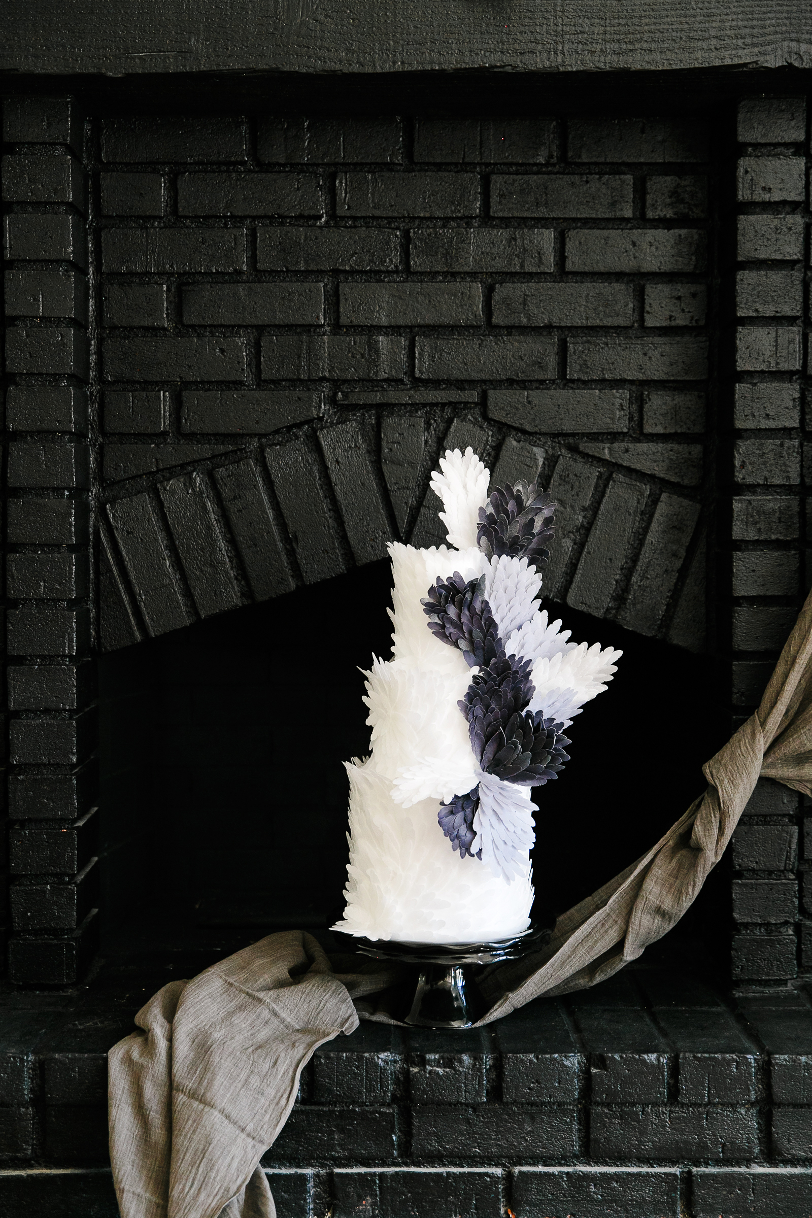 haunted movie house black brick fireplace with cake display