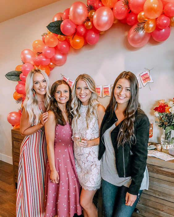 bridal shower ideas peach hue balloons and decor
