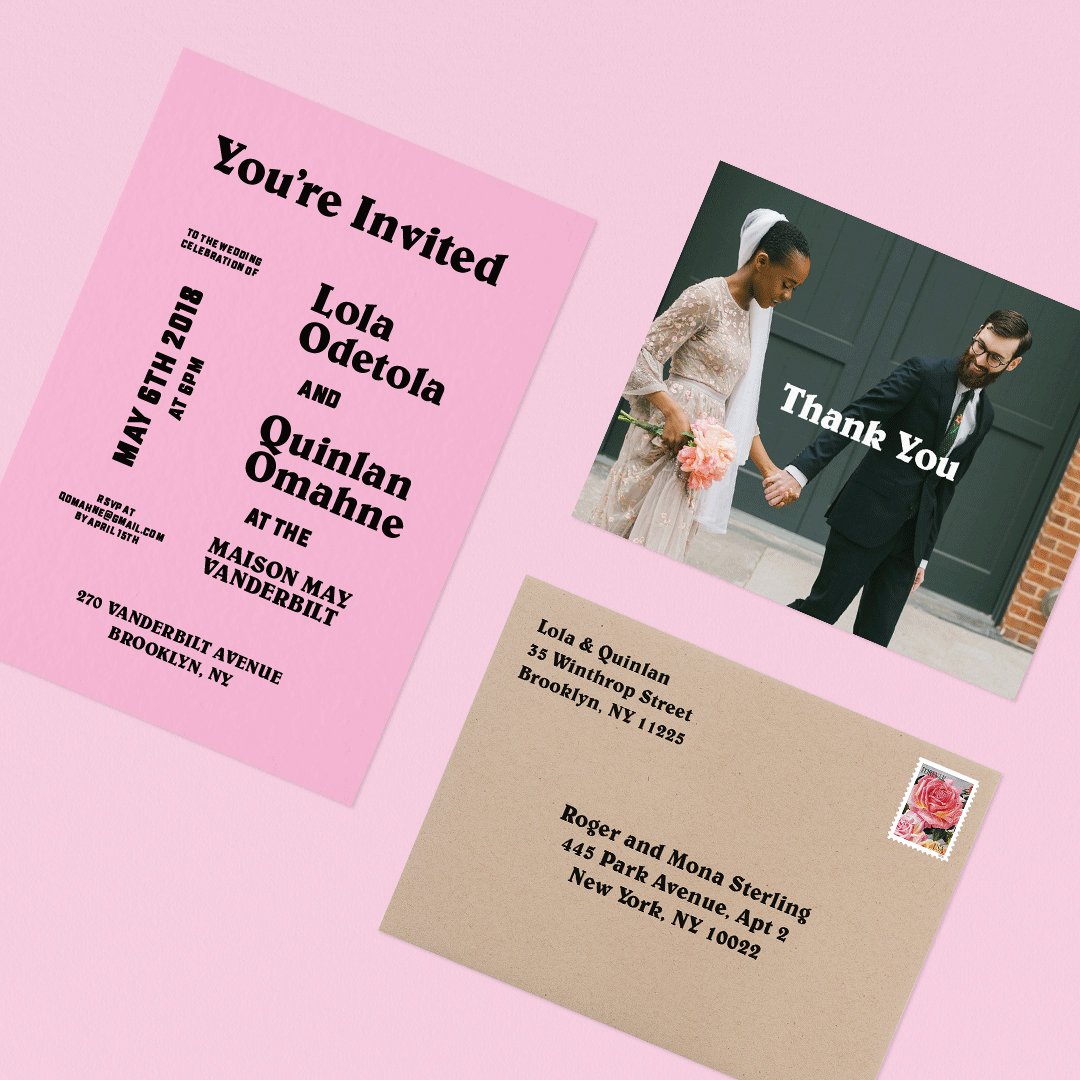 lola quinlan elopement pink wedding cards