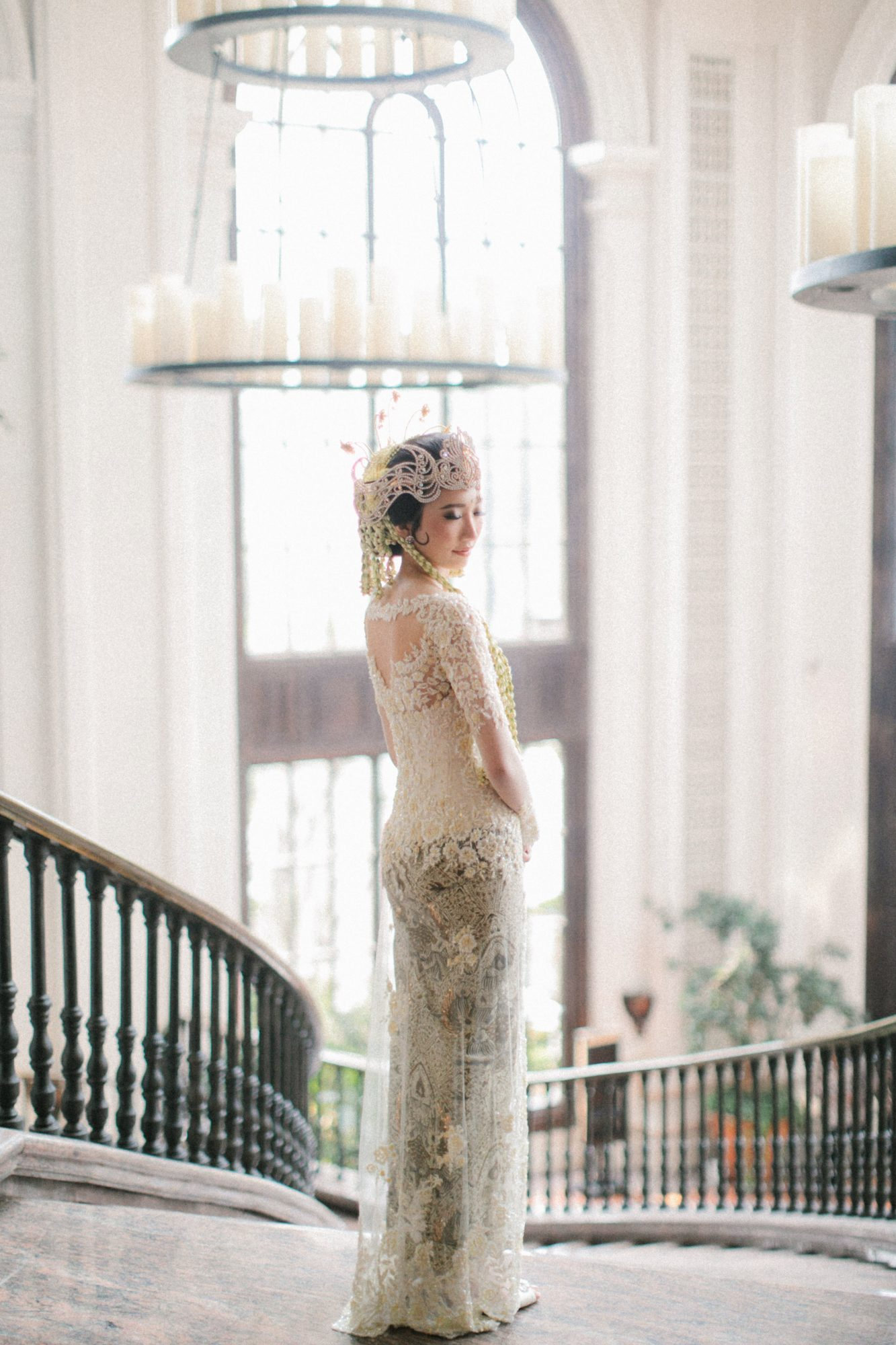wedding bride two part gown pose at stairwell